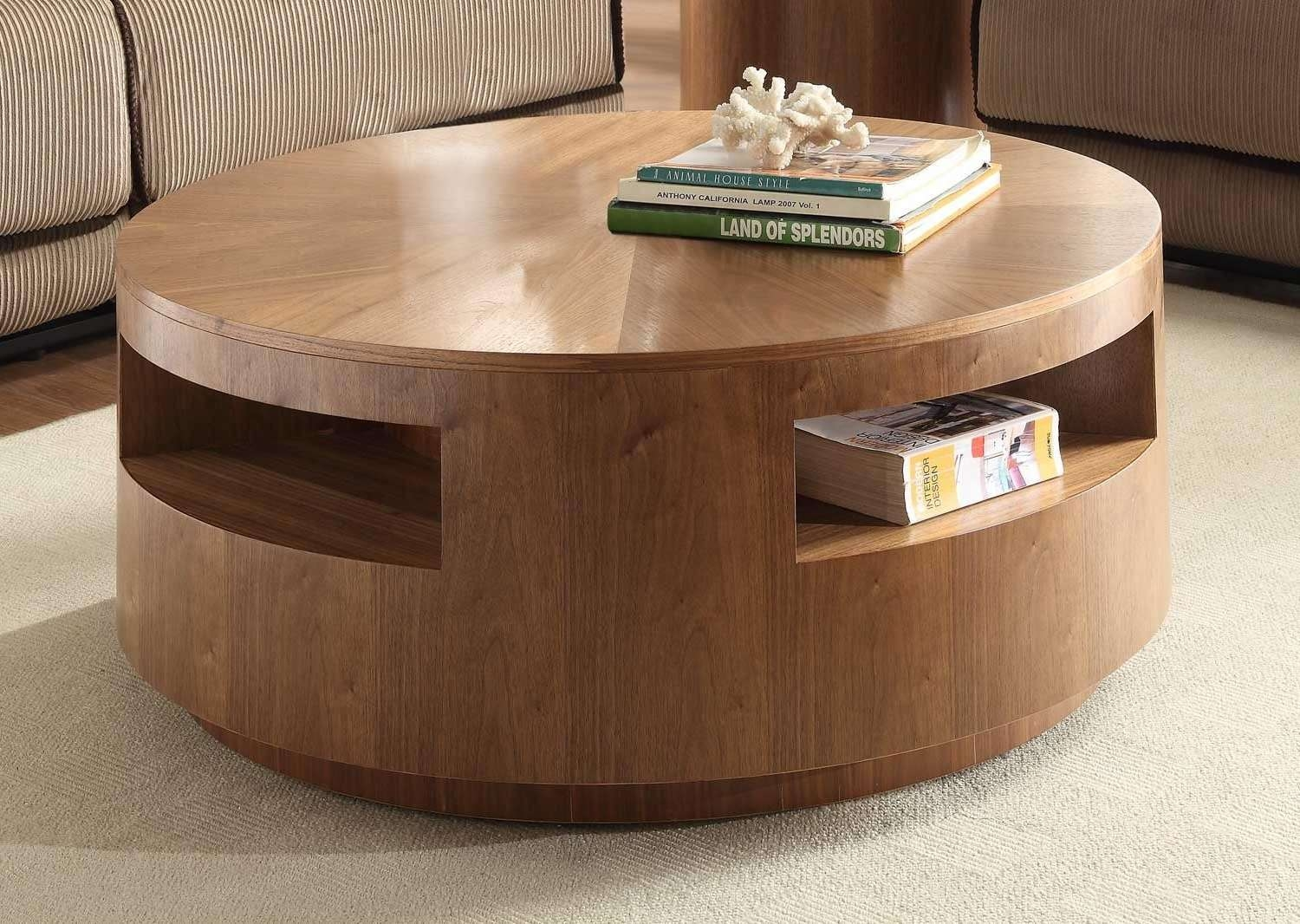 Coffee Tables : Black Stained Small Coffee Tables With Storage In Trendy Round Coffee Tables With Storage (View 12 of 20)
