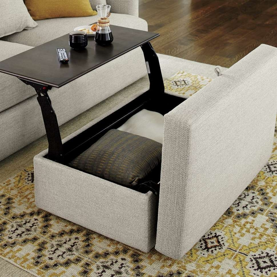 Coffee Tables : Black Storage Ottoman Upholstered Coffee Table Within Most Up To Date Coffee Tables With Seating And Storage (View 9 of 20)