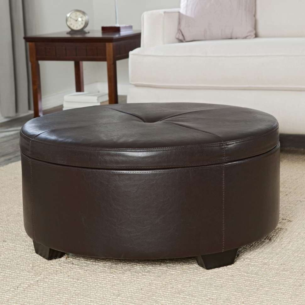 Coffee Tables : Brown Leather Ottoman Small Storage Ikea For 2018 Brown Leather Ottoman Coffee Tables (View 7 of 20)
