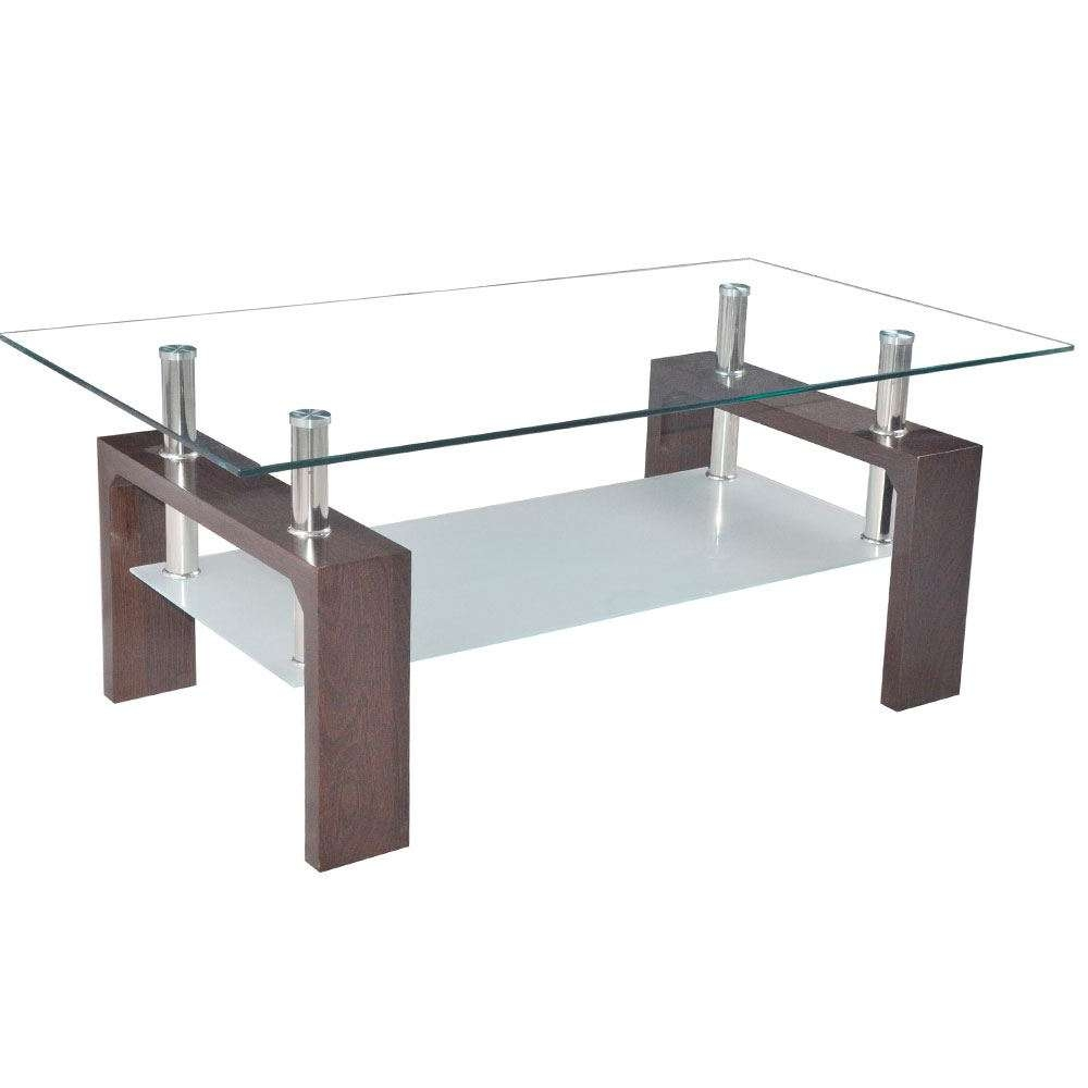 Coffee Tables Cara Elena Elise Glass Top Stainless Steel Modern In Favorite Range Coffee Tables (View 5 of 20)