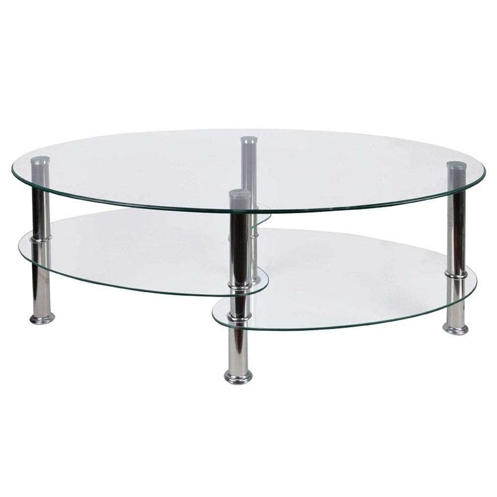 Coffee Tables Cara Elena Elise Glass Top Stainless Steel Modern Regarding Famous Elena Coffee Tables (View 7 of 20)
