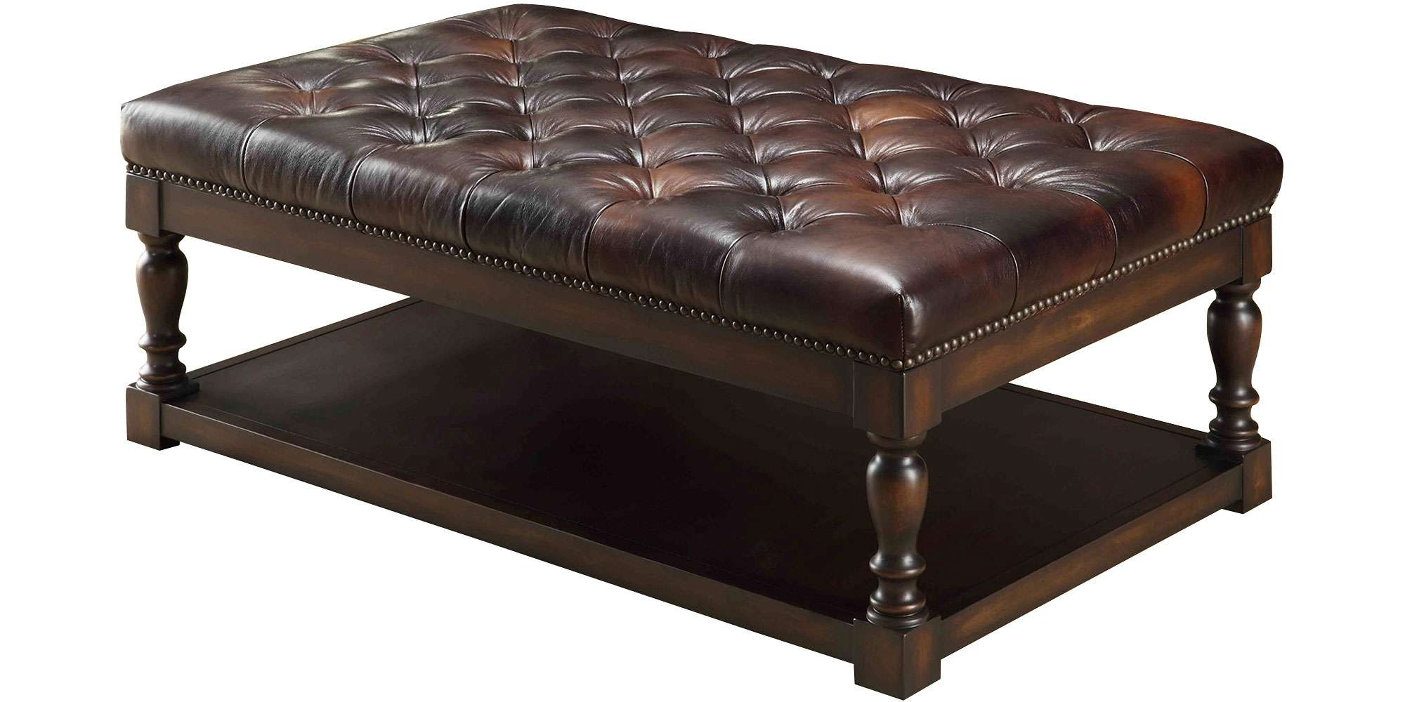 Coffee Tables : Circle Ottomans With Storage Ottoman Semi Within Latest Brown Leather Ottoman Coffee Tables With Storages (View 9 of 20)