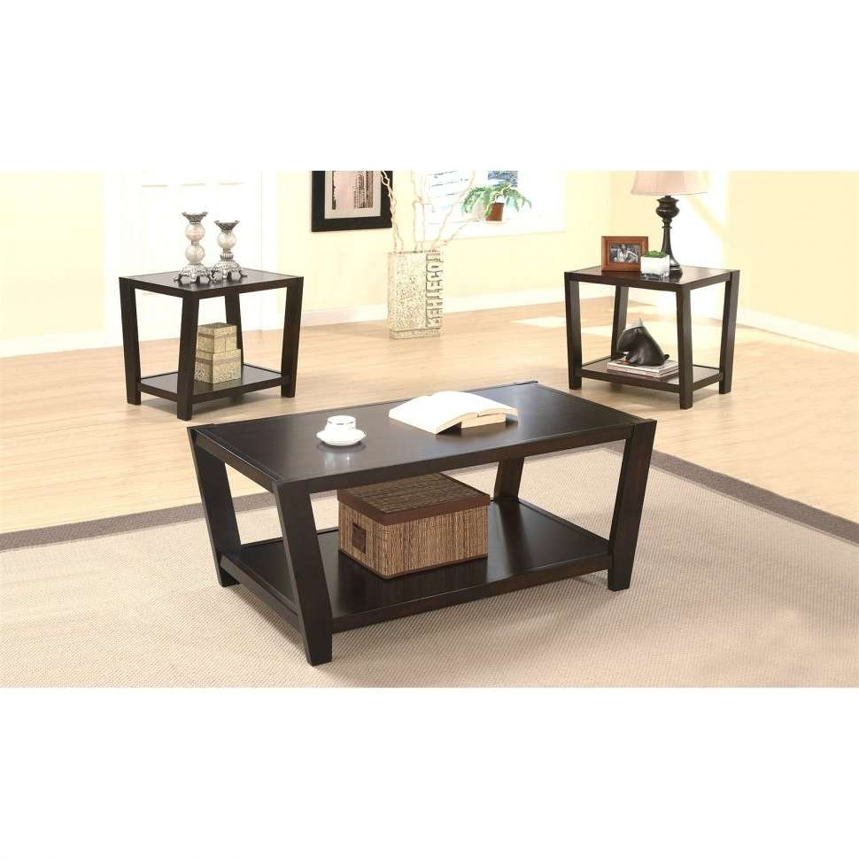 Coffee Tables : Coaster Furniture Piece Wood Coffee Table Set Regarding Famous Wayfair Coffee Table Sets (View 15 of 20)