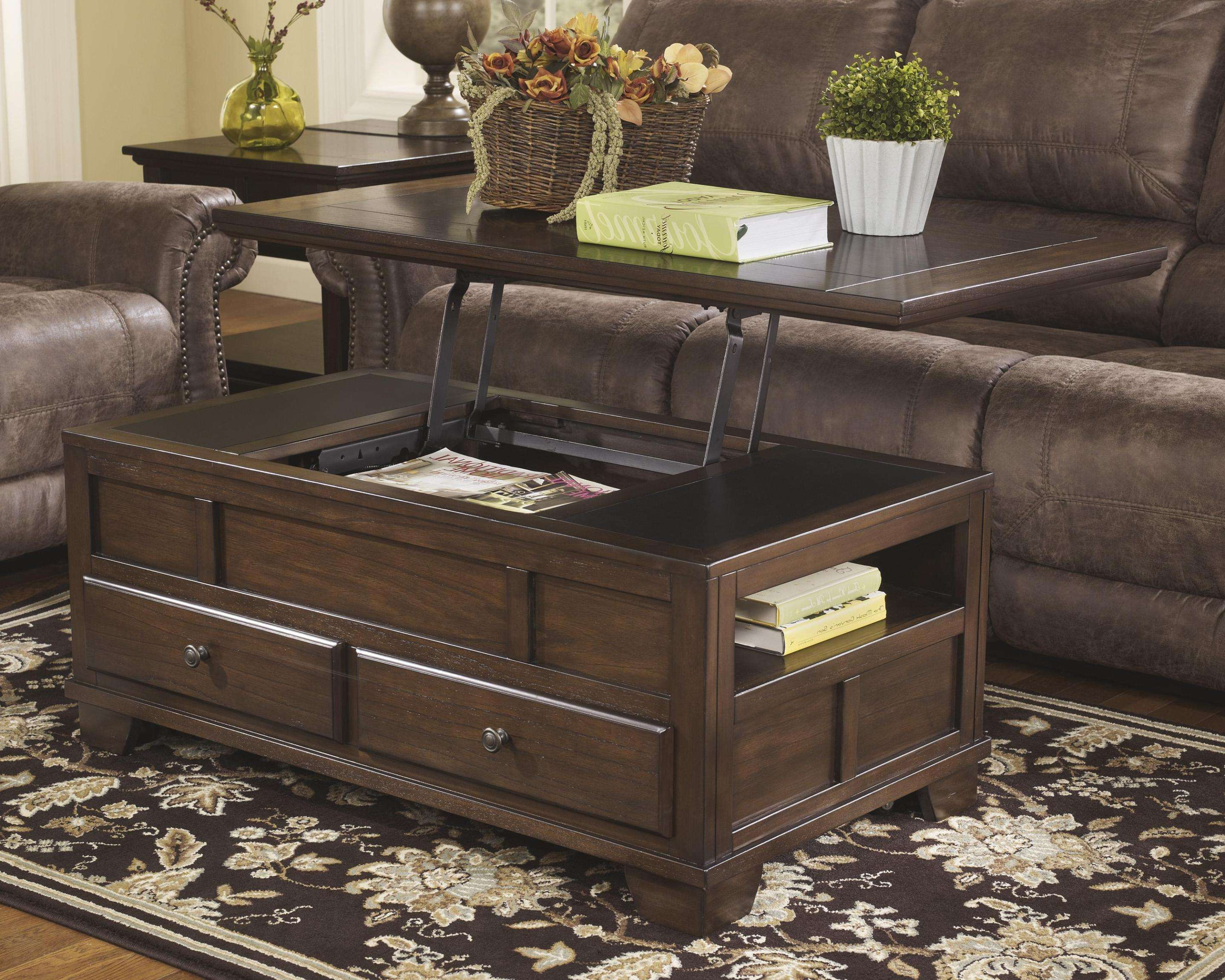 Coffee Tables : Coffee Table Coaster Lift Top Oak With Drawer For Current Low Coffee Tables With Drawers (View 3 of 20)