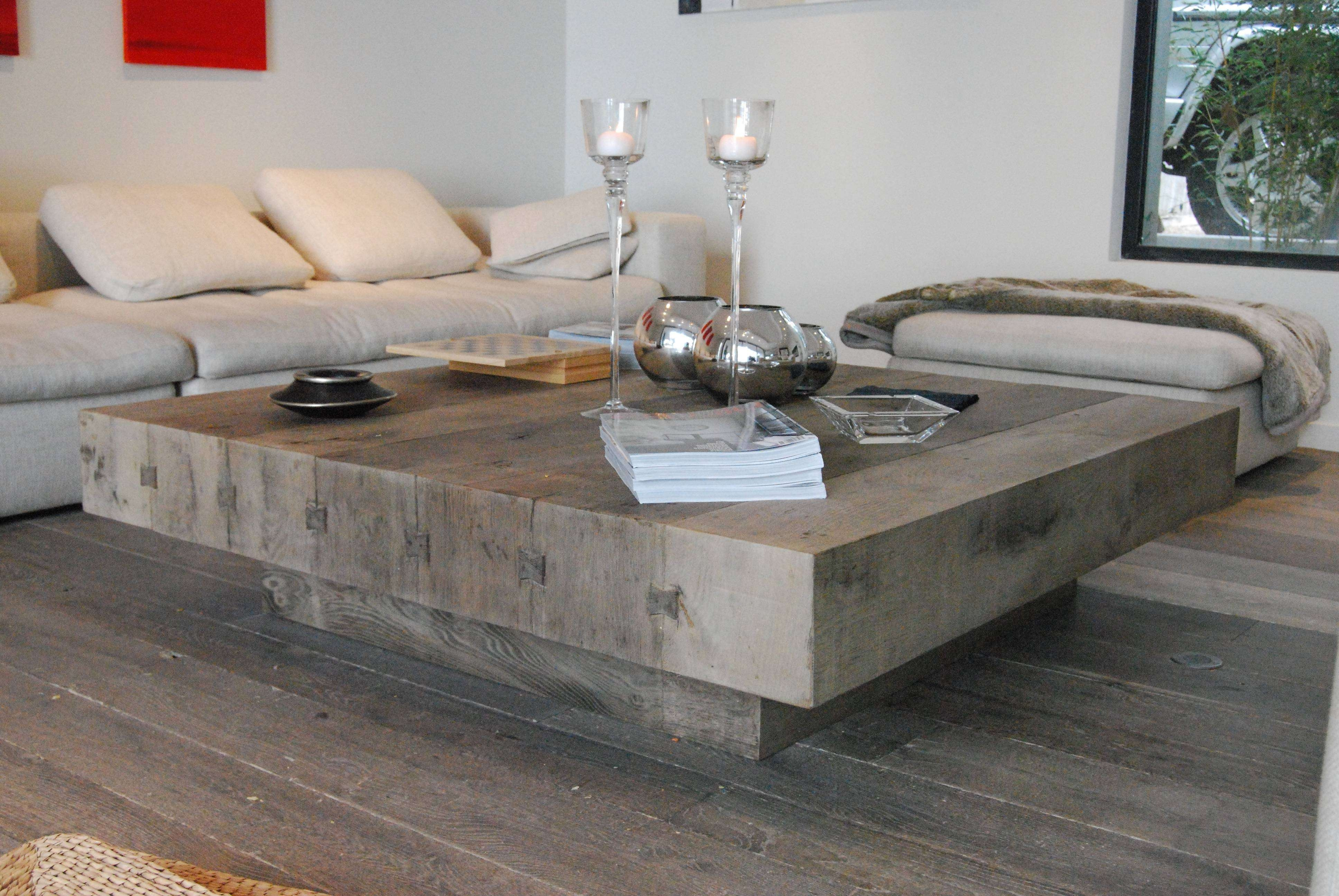 Coffee Tables : Contemporary Square Wood Coffee Tables With Grey Pertaining To Well Known Large Square Wood Coffee Tables (View 5 of 20)