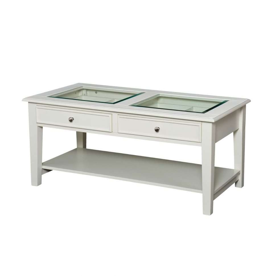 Coffee Tables : Cool Rectangle Cottage Wood White Coffee Table Inside Trendy Solid Glass Coffee Tables (View 6 of 20)