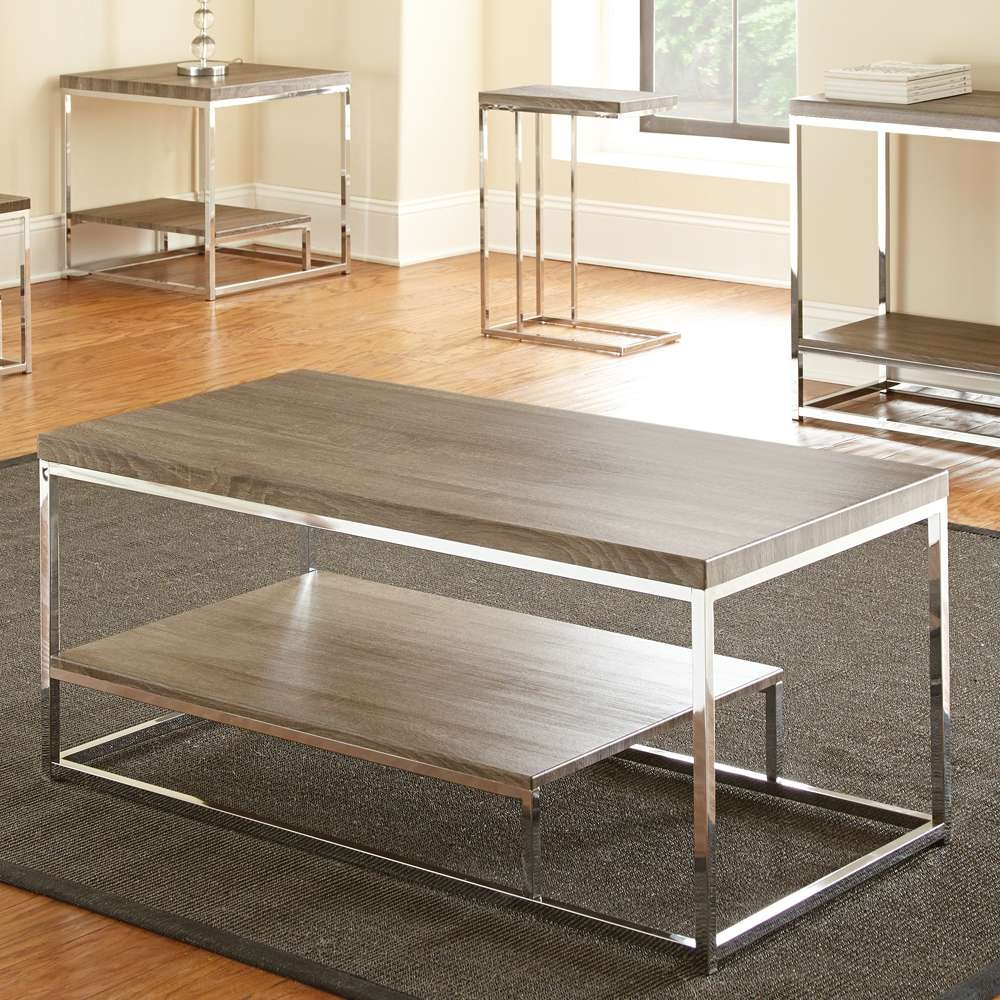 Coffee Tables : Dazzling Captivating Silver Rectangle Contemporary Intended For Well Known Grey Coffee Table Sets (View 11 of 20)