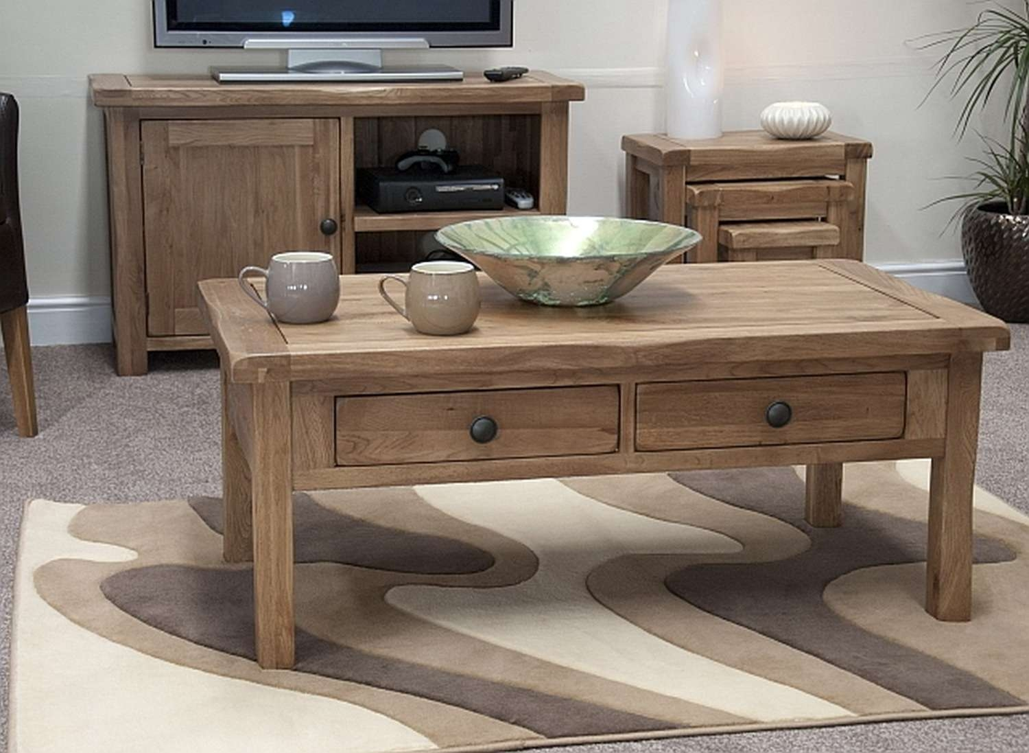 Coffee Tables : Dazzling Original Rustic Storage Coffee Table Diy With Regard To Trendy Rustic Oak Coffee Table With Drawers (View 5 of 20)