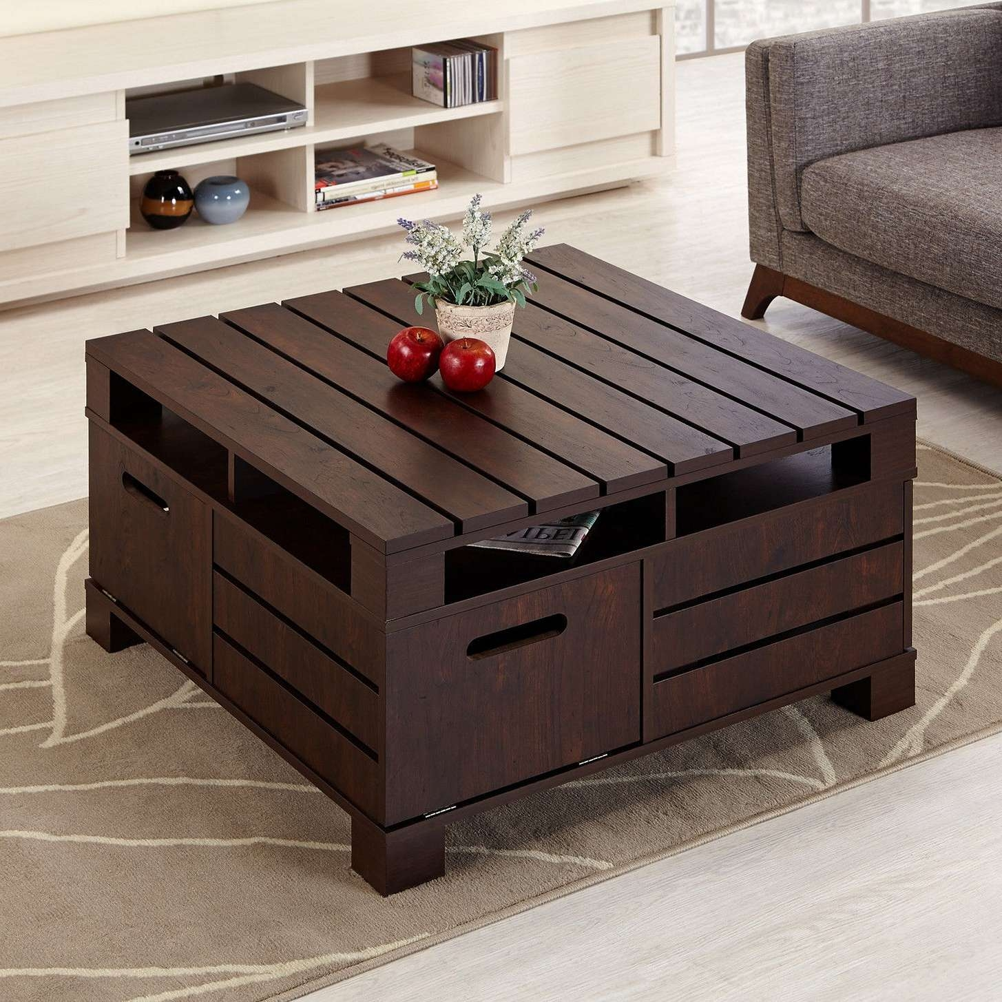 Coffee Tables : Diy Wood Pallet Coffee Table Design Plans Making Intended For Recent Rustic Storage Diy Coffee Tables (View 13 of 20)