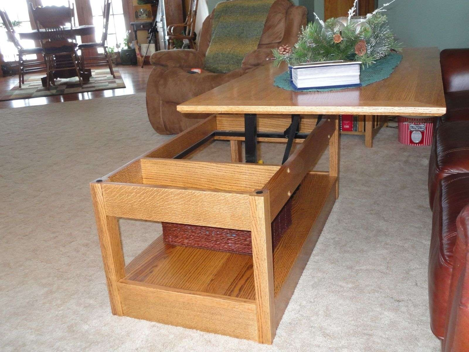 Coffee Tables : Double Lift Top Coffee Table Round Ottoman Coffee Within Well Known Flip Up Coffee Tables (View 4 of 20)