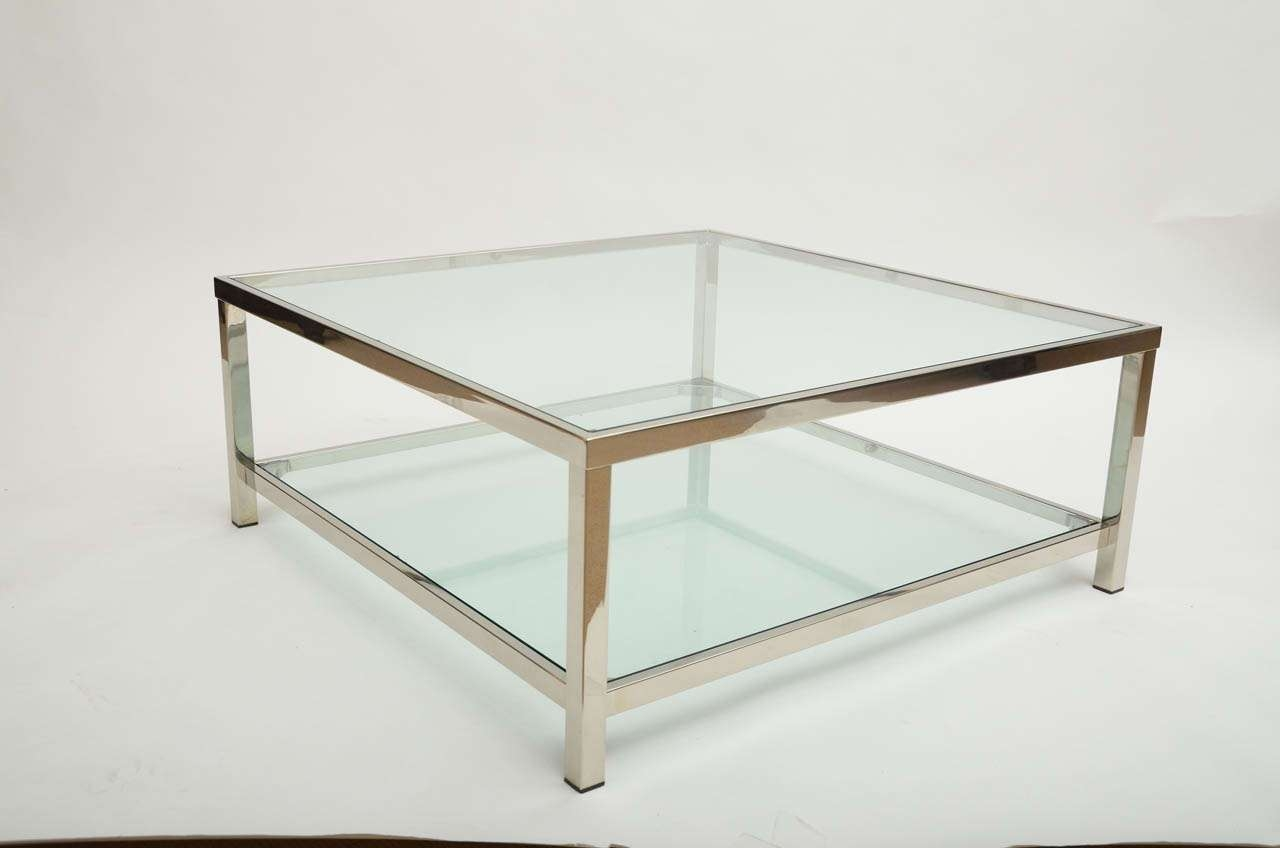 Coffee Tables : Elegant Black Rectangle Minimalist Glass And With Regard To Most Recent Rectangle Glass Chrome Coffee Tables (View 5 of 20)