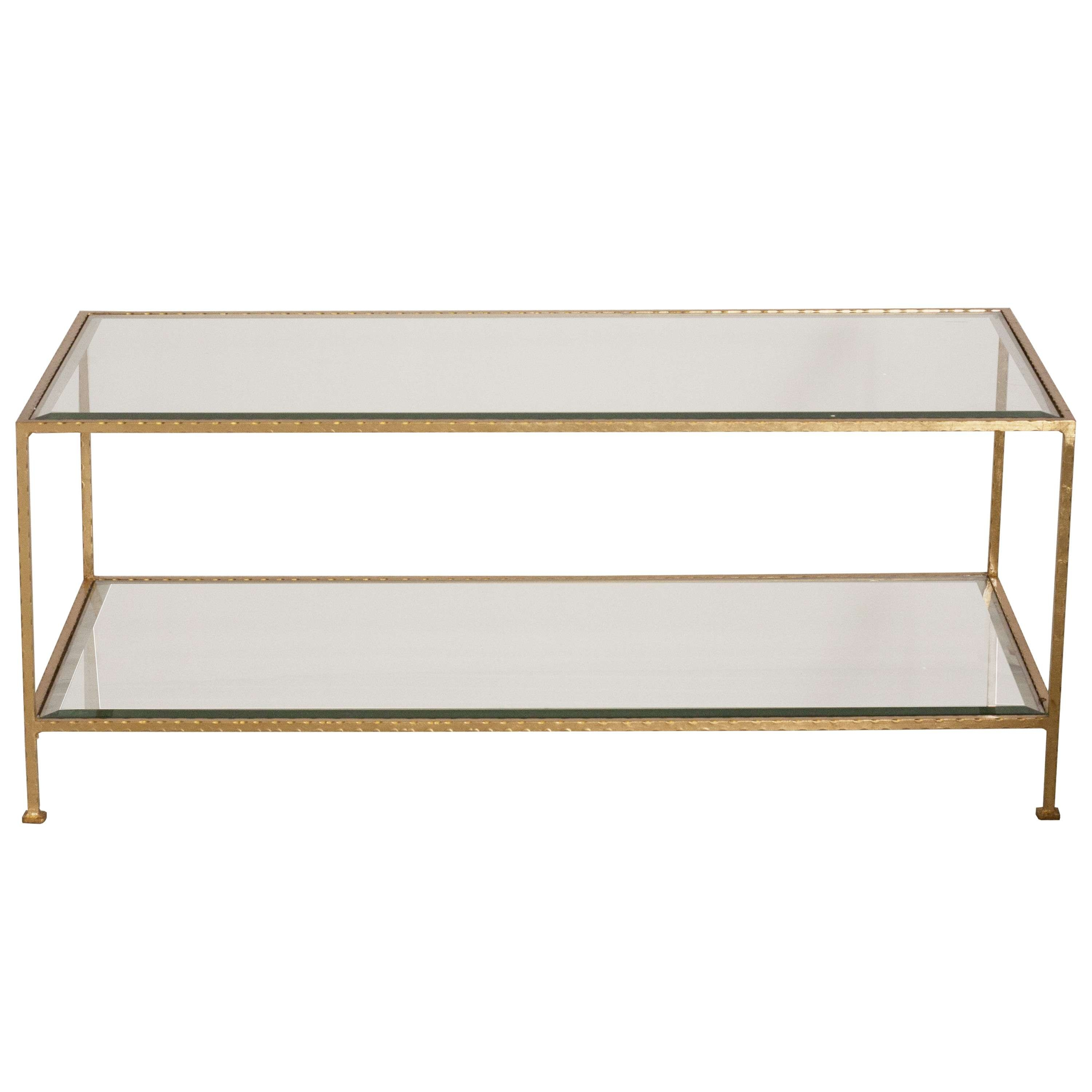 Coffee Tables : Elegant Clear And Golden Rectangle Traditional Pertaining To Best And Newest Rectangle Glass Coffee Table (View 7 of 20)