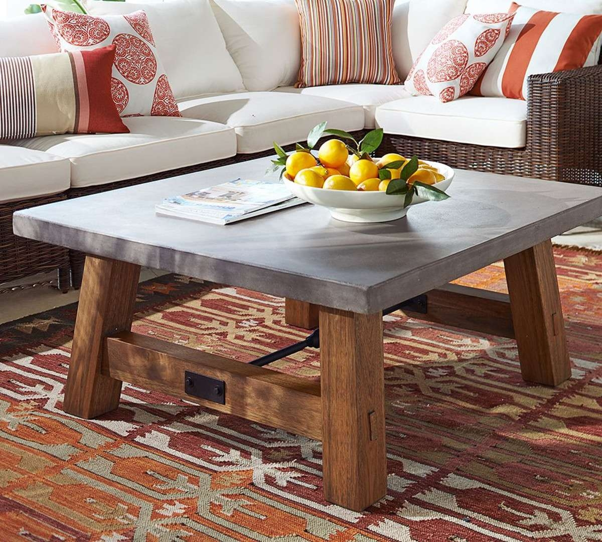 View Photos Of Ethnic Coffee Tables Showing Of Photos - Pottery barn concrete coffee table