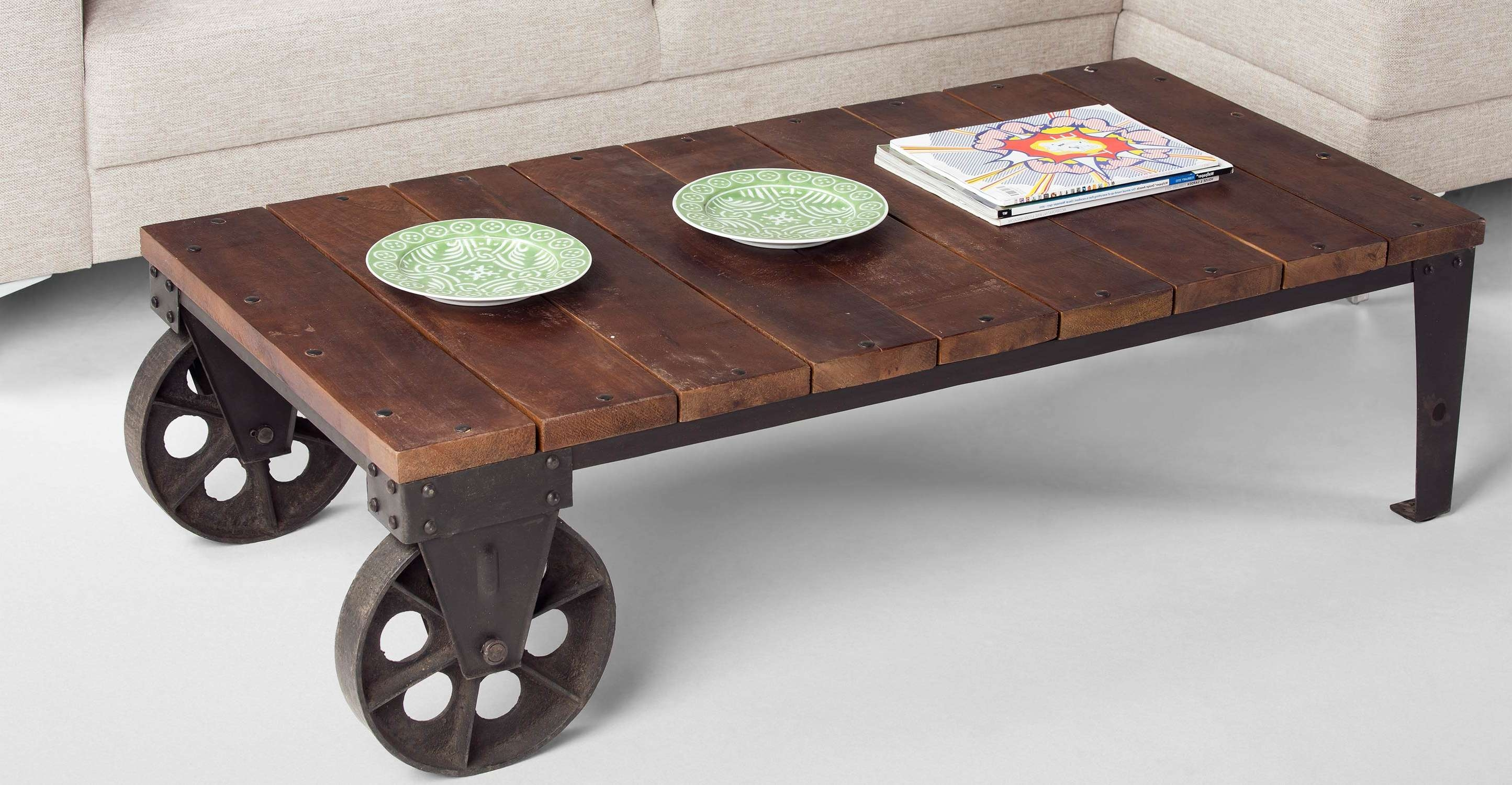 Coffee Tables : Fabulous Industrial Coffee Table On Wheels For In Most Current Coffee Tables With Wheels (View 9 of 20)
