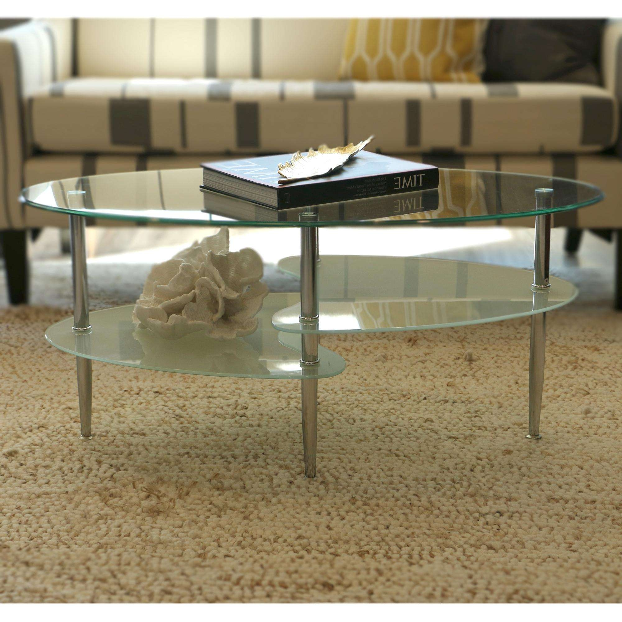 Coffee Tables : Furniture Brass Frame Coffee Table With Oval Glass With Regard To Most Recently Released Oval Glass Coffee Tables (View 1 of 20)