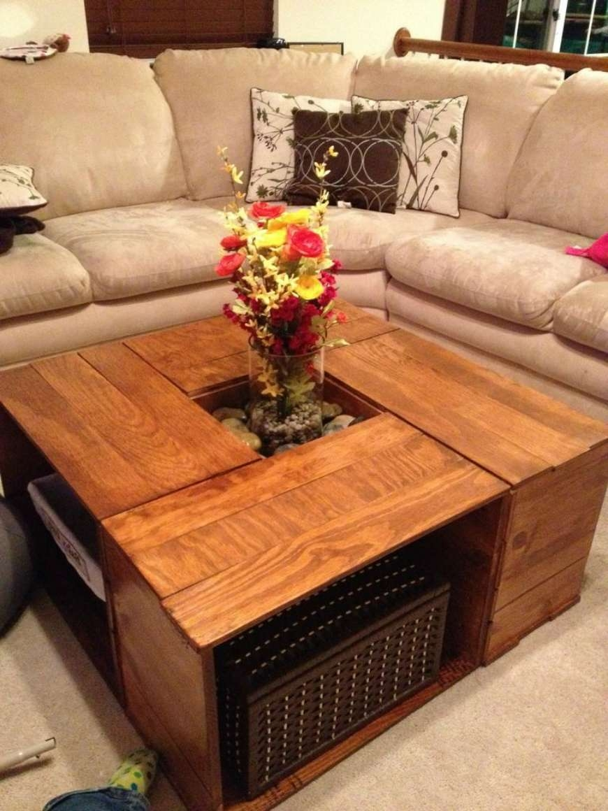 Coffee Tables : Furniture Entrancing Brown Color Wooden Crates As Pertaining To Famous Square Shaped Coffee Tables (View 2 of 20)