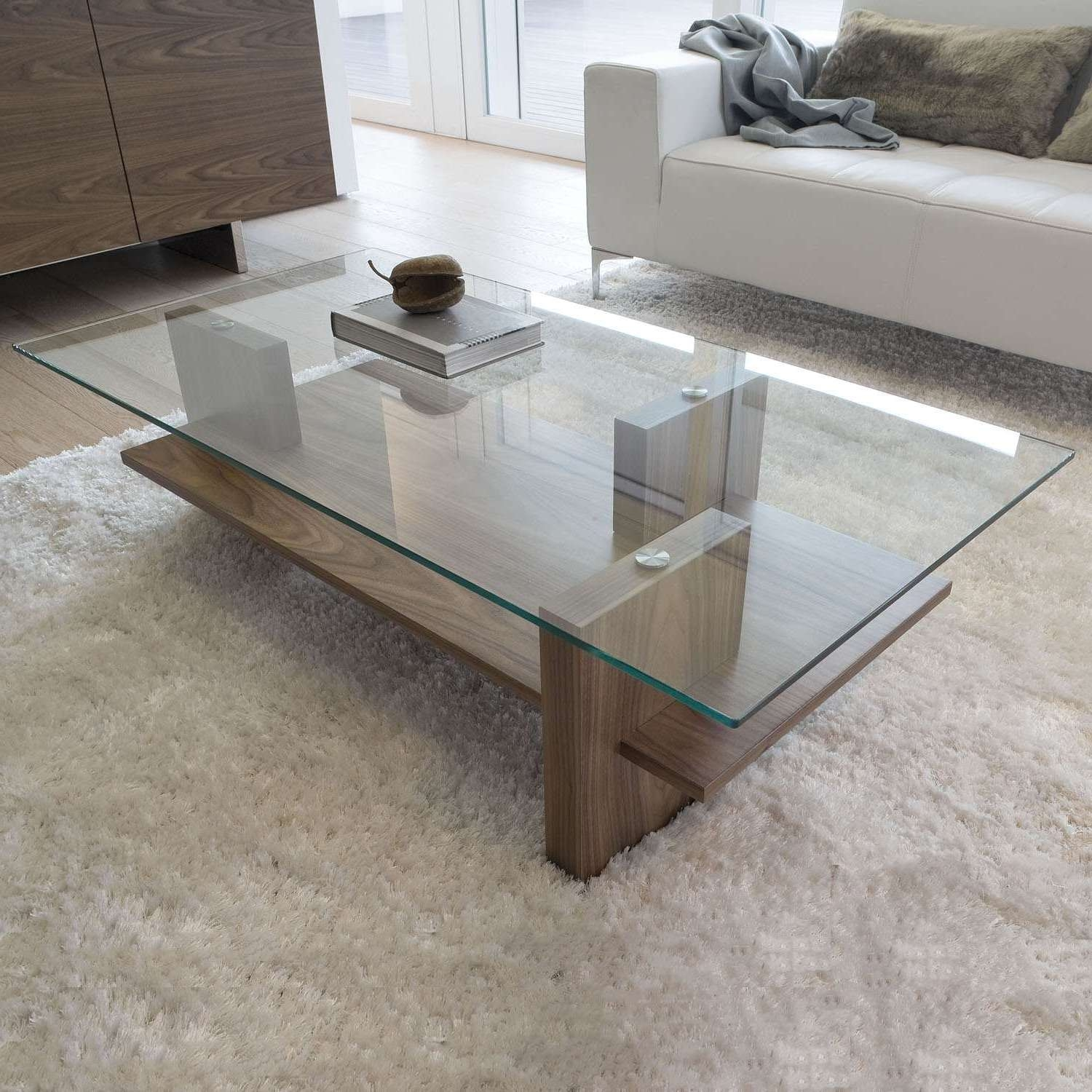 Coffee Tables : Furniture Glass And Wood Coffee Table Square With Well Known Solid Glass Coffee Tables (View 9 of 20)