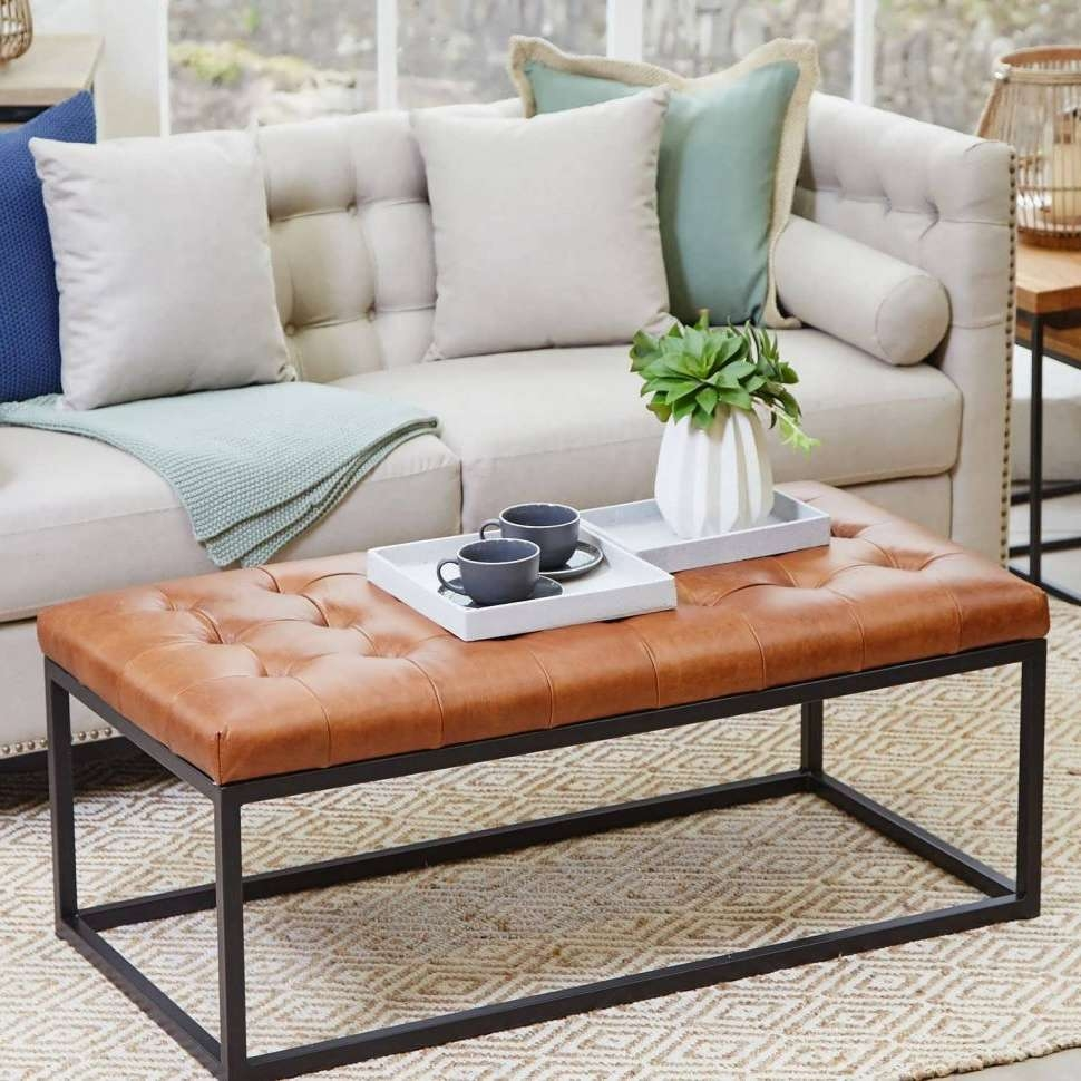 Coffee Tables : Green Ottoman Brown Oversized Coffee Table Leather With Regard To Recent Green Ottoman Coffee Tables (View 4 of 20)