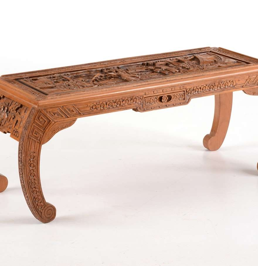 Coffee Tables : High Relief Hand Carved Chinese Coffee Table Ebth With Well Liked Chinese Coffee Tables (View 7 of 20)