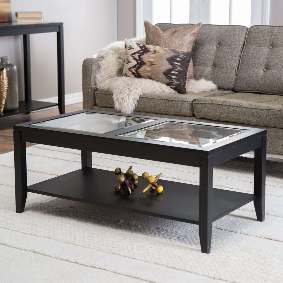 Coffee Tables : Hodedah Glass Rectangle Coffee Table Black Walmart Inside 2017 Large Rectangular Coffee Tables (View 7 of 20)
