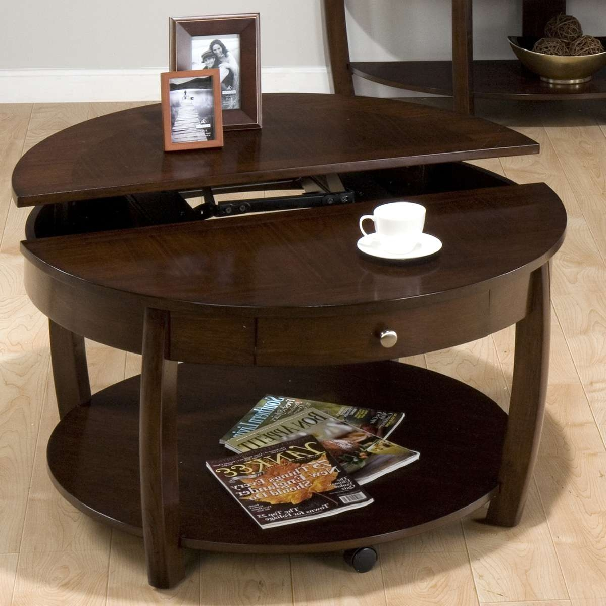 Coffee Tables : Hol Storage Table Acacia Coffee Tables Occasional Pertaining To Most Popular Round Coffee Table Storages (View 7 of 20)