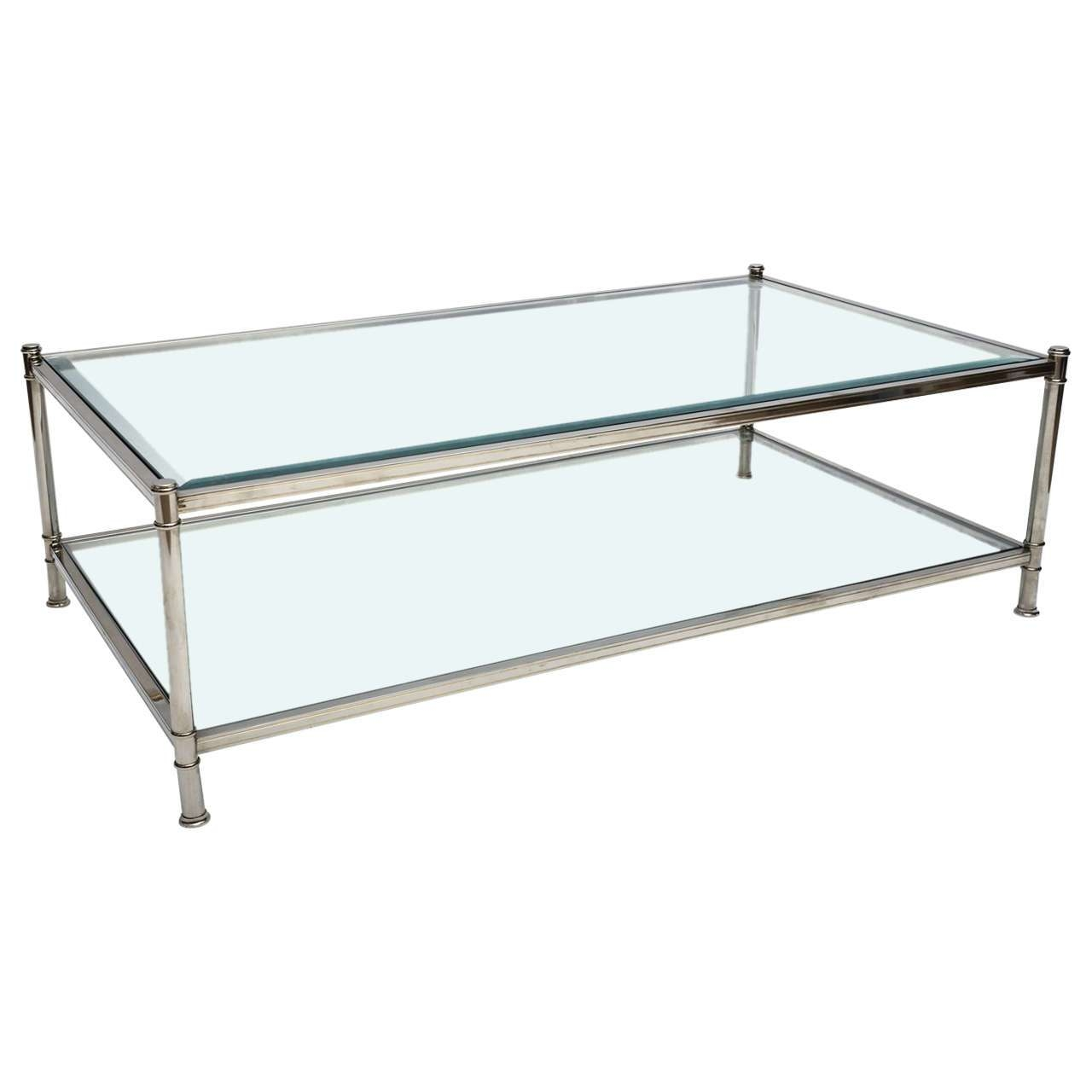 Coffee Tables Ideas: Cool Two Tier Glass Coffee Table Two Tier Inside Most Popular Chrome Glass Coffee Tables (View 11 of 20)