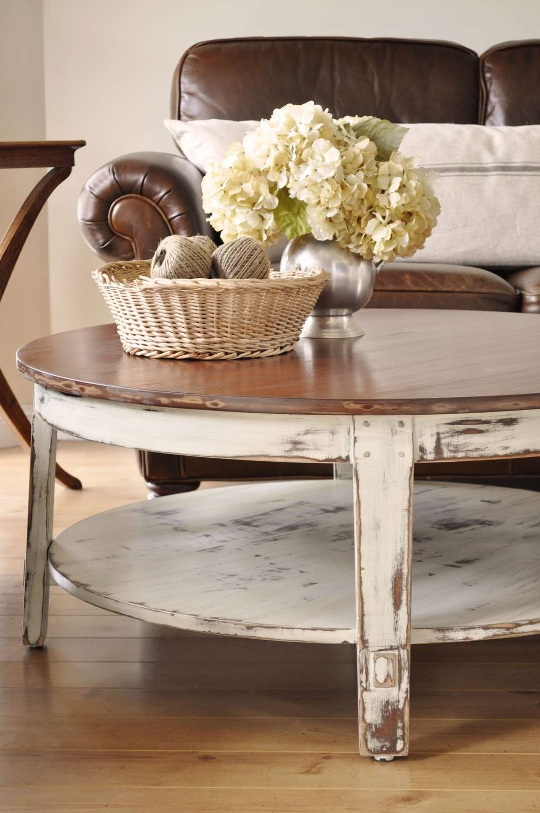 Coffee Tables Ideas: Manufacture Made Distressed Round Coffee With Well Known White Coffee Tables With Baskets (View 11 of 20)