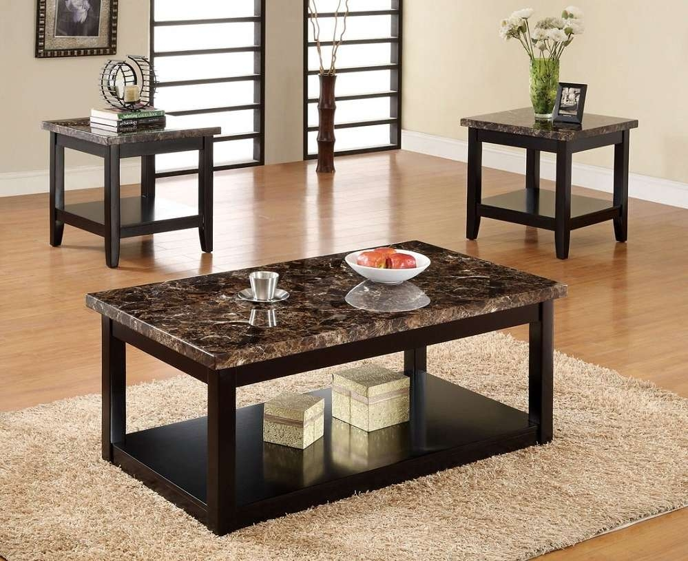 Coffee Tables Ideas: Modern Black Marble Coffee Table Set Marble For Well Known Black And Grey Marble Coffee Tables (View 4 of 20)