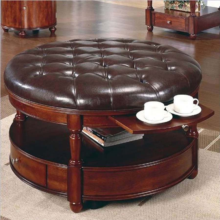 Coffee Tables Ideas: Round Leather Coffee Table Ottoman Pier One With Most Recent Round Upholstered Coffee Tables (View 10 of 20)