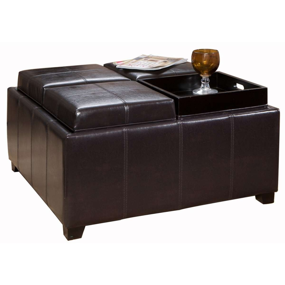 Coffee Tables Ideas: Storage Brown Leather Ottoman Coffee Table With Regard To Famous Brown Leather Ottoman Coffee Tables (View 9 of 20)