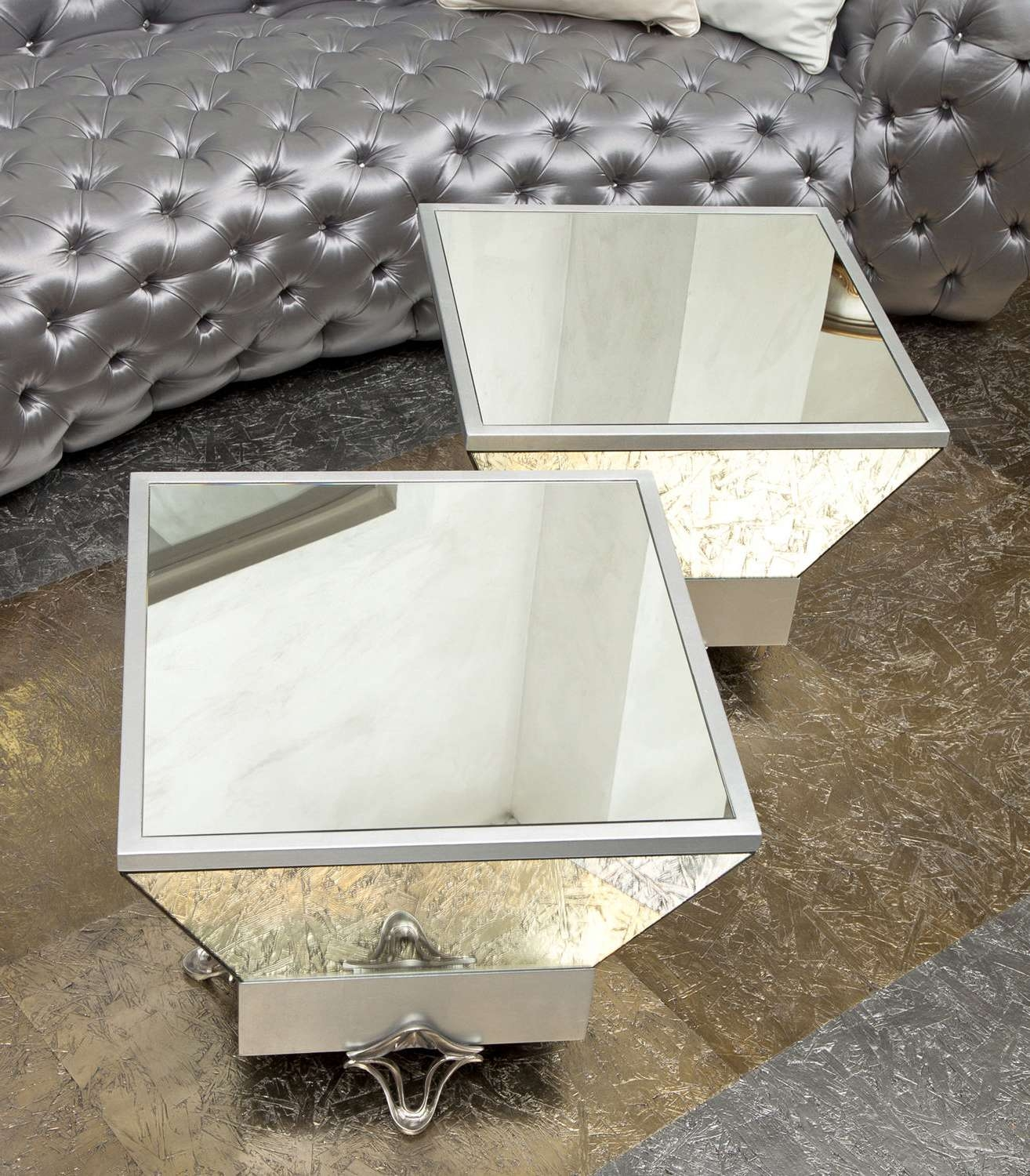 Coffee Tables : Kyla Mirrored Coffee Table Square Set Modern In Preferred Small Mirrored Coffee Tables (View 5 of 20)