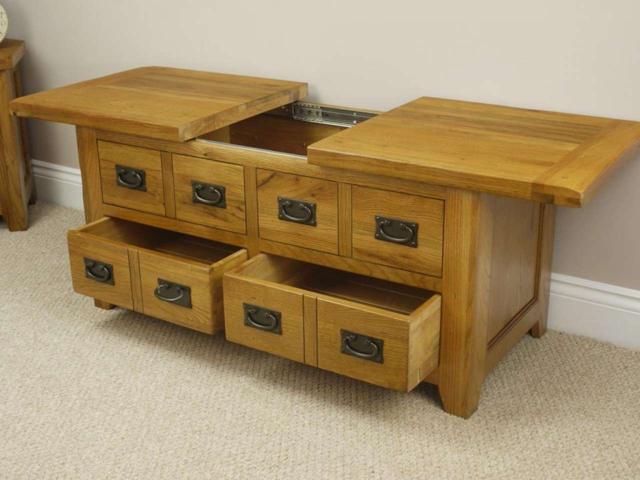Coffee Tables : Large Oak Coffee Table With Storage Tables Square Pertaining To Current Oak Coffee Table Sets (View 13 of 20)