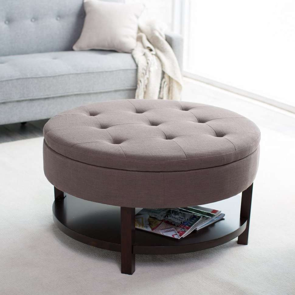 Coffee Tables : Large Round Storage Ottoman Coffee Table Leather In Most Up To Date Round Storage Coffee Tables (View 4 of 20)
