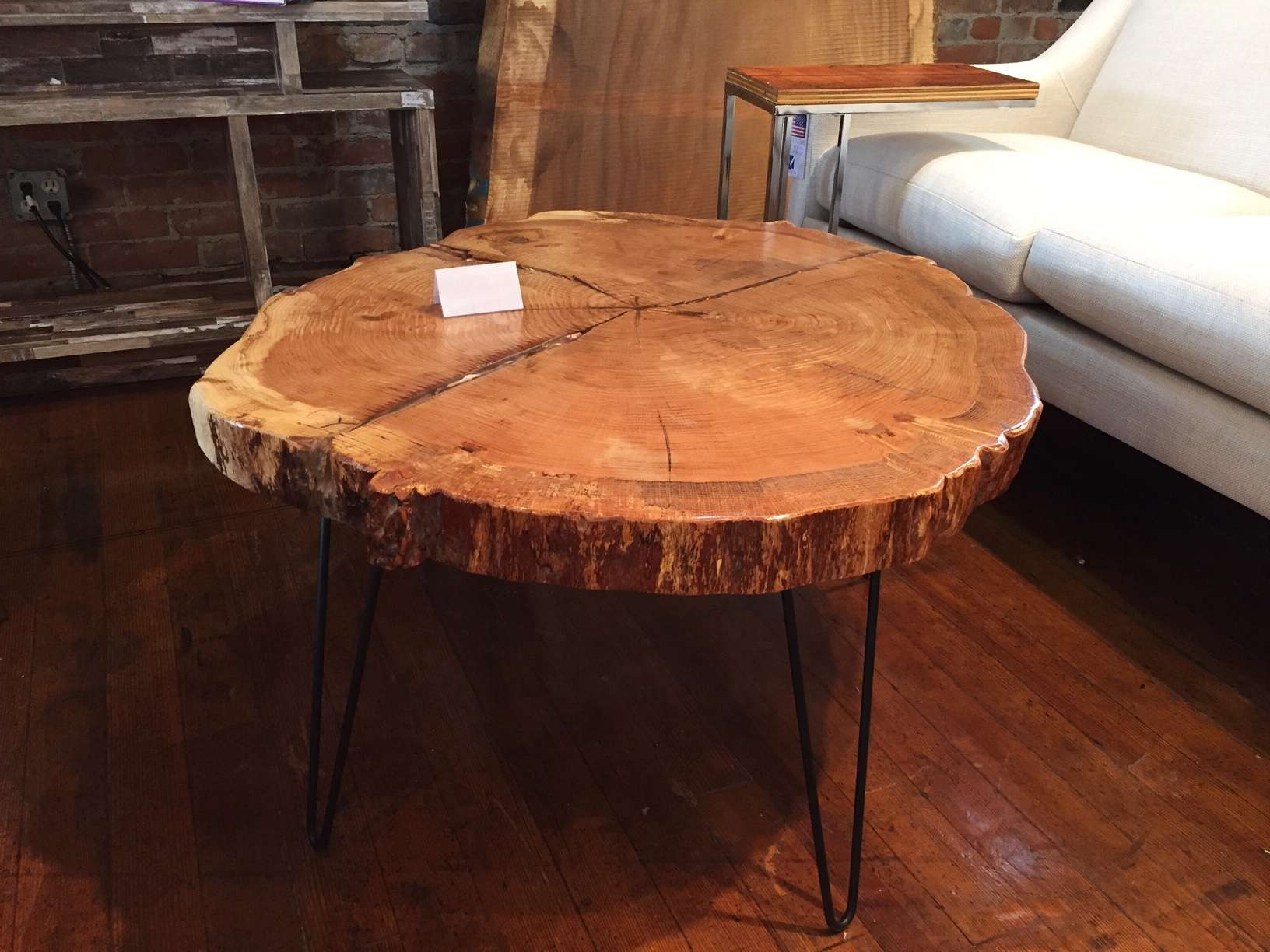 Coffee Tables : Live Edge Red Oak Cookie Slab Coffee Table Hairpin Within Fashionable Free Form Coffee Tables (View 17 of 20)