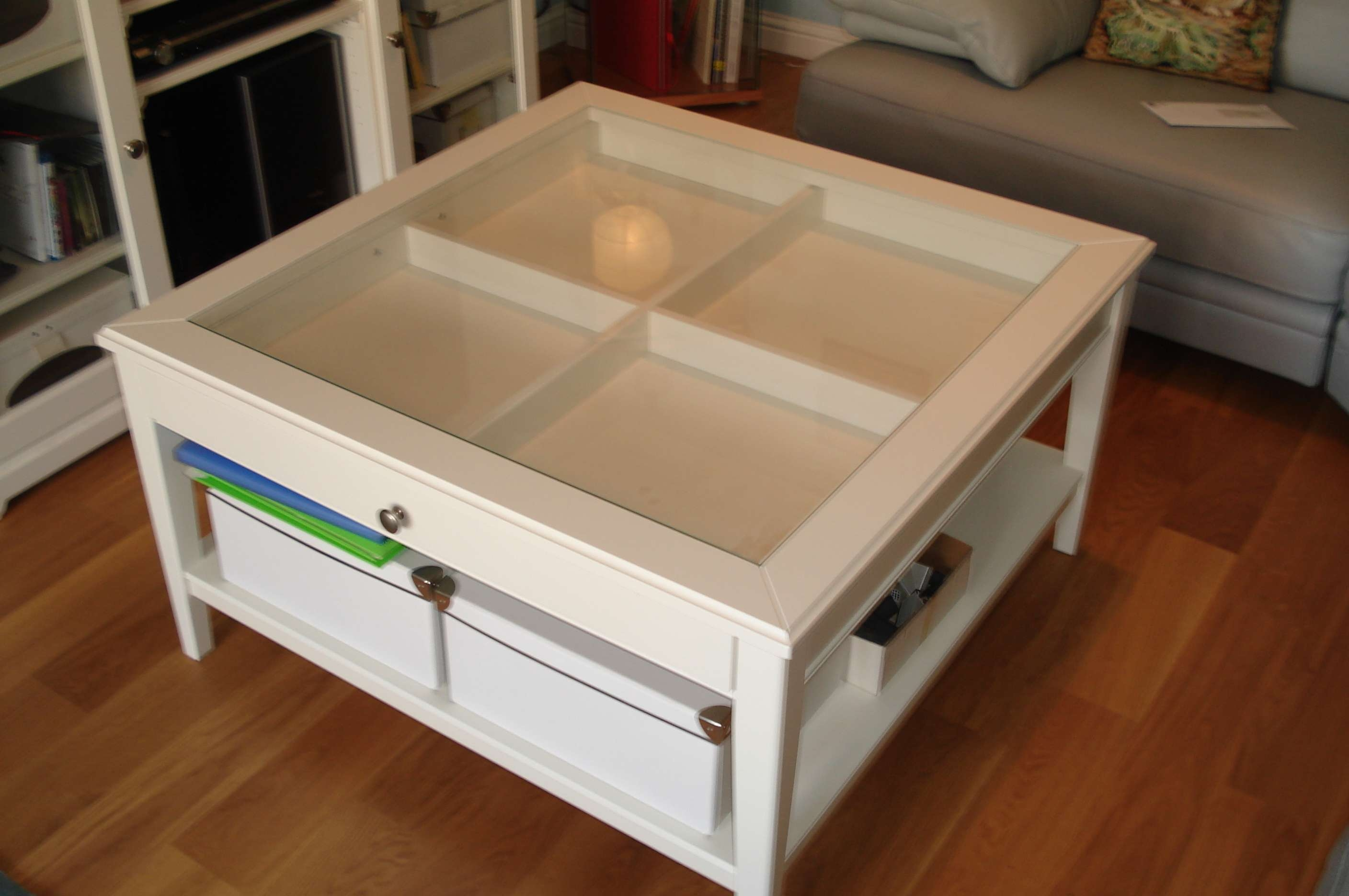Coffee Tables : Louis Coffee Table Sq White Glass The Top Drawer Regarding Latest Low Coffee Tables With Drawers (View 7 of 20)