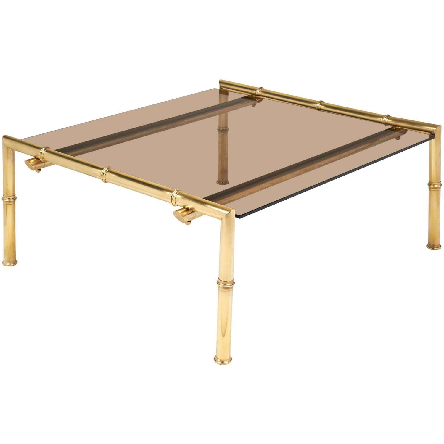 Coffee Tables : Marble Coffee Table Brass Legs Base Antique And For Best And Newest Retro Smoked Glass Coffee Tables (View 8 of 20)