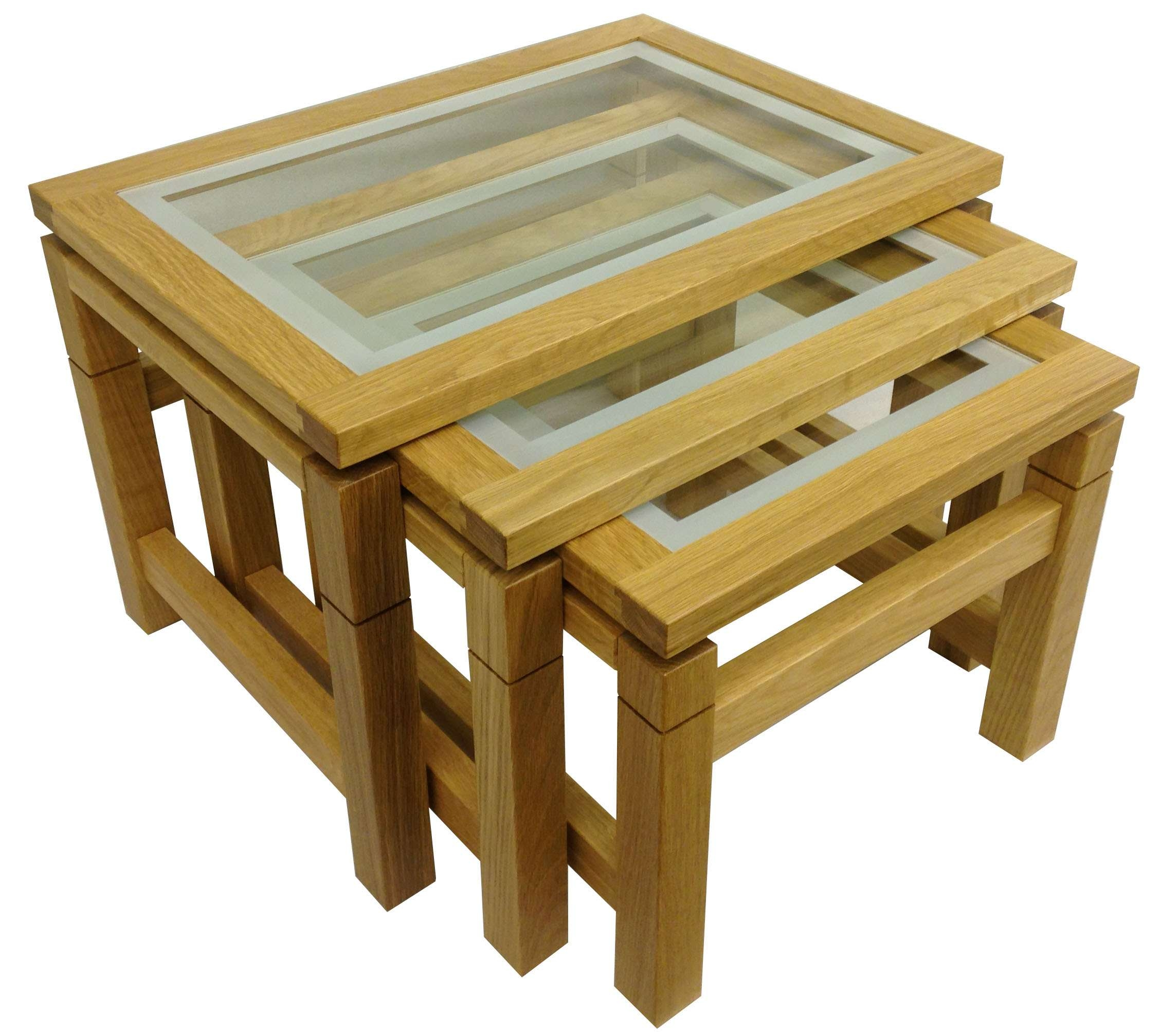 Coffee Tables : Matrix Glass Top Nest Tables In Oak Nesting Coffee With Regard To Well Known Cheap Oak Coffee Tables (View 4 of 20)