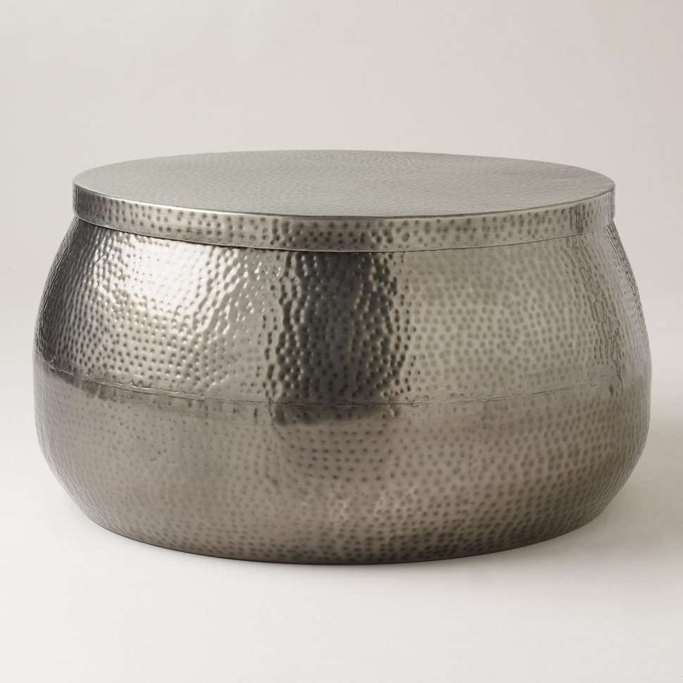 Coffee Tables : Metal Frame Coffee Table Black Square Glass Living In Trendy Round Metal Coffee Tables (View 18 of 20)