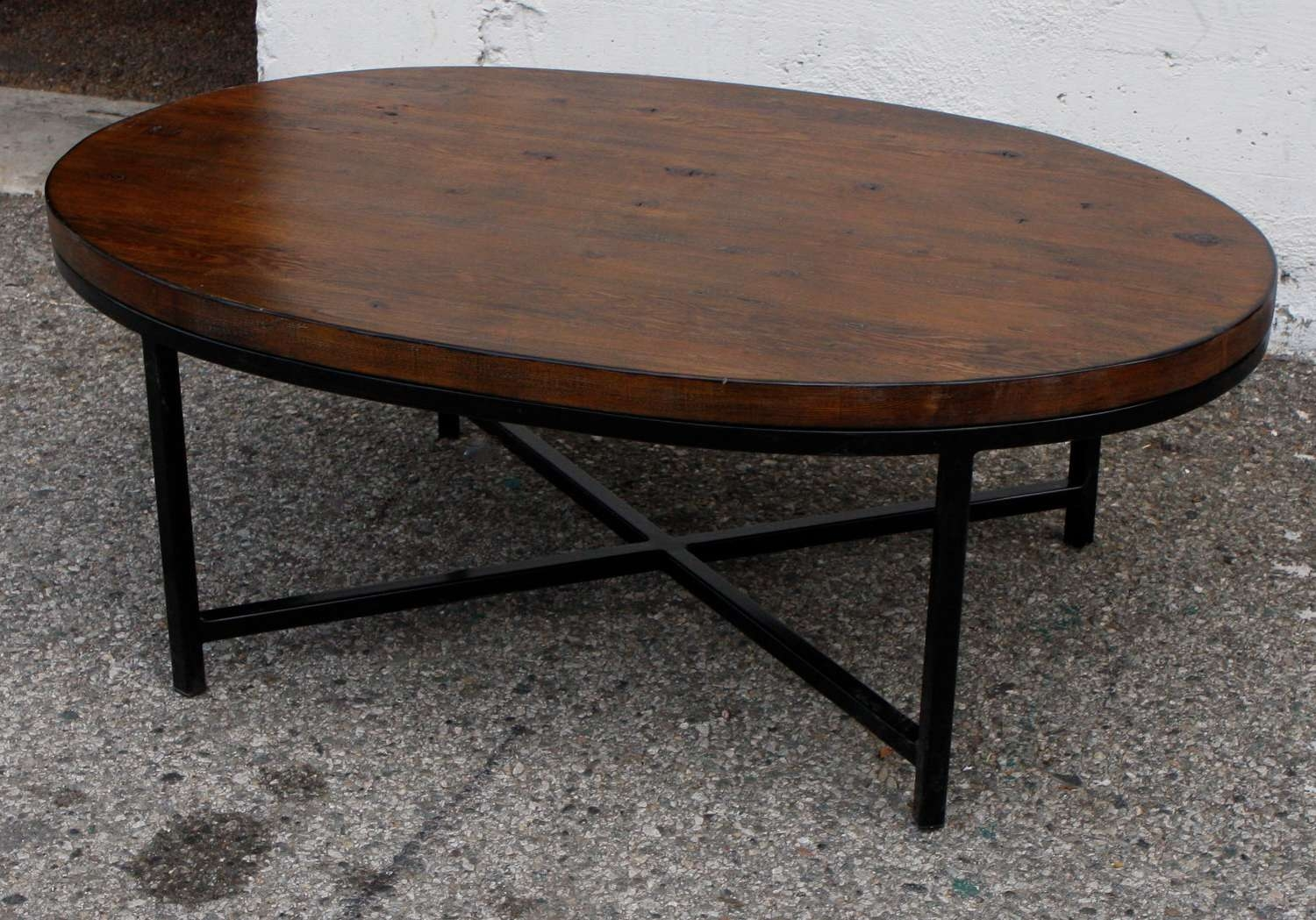 Coffee Tables : Oval Wood Coffee Table With Metal Legs Square Pertaining To Fashionable Oval Glass And Wood Coffee Tables (View 4 of 20)