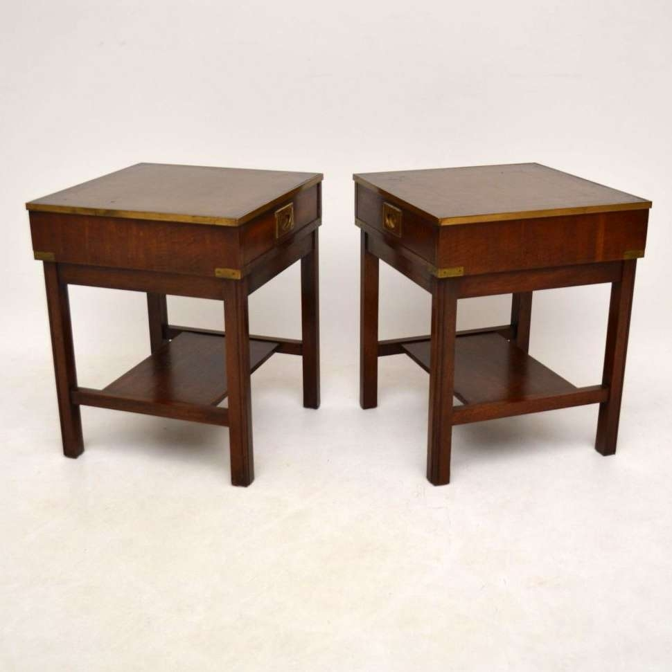 Coffee Tables : Pair Antique Mahogany Leather Coffee Table Rustic In Well Known Campaign Coffee Tables (View 6 of 20)