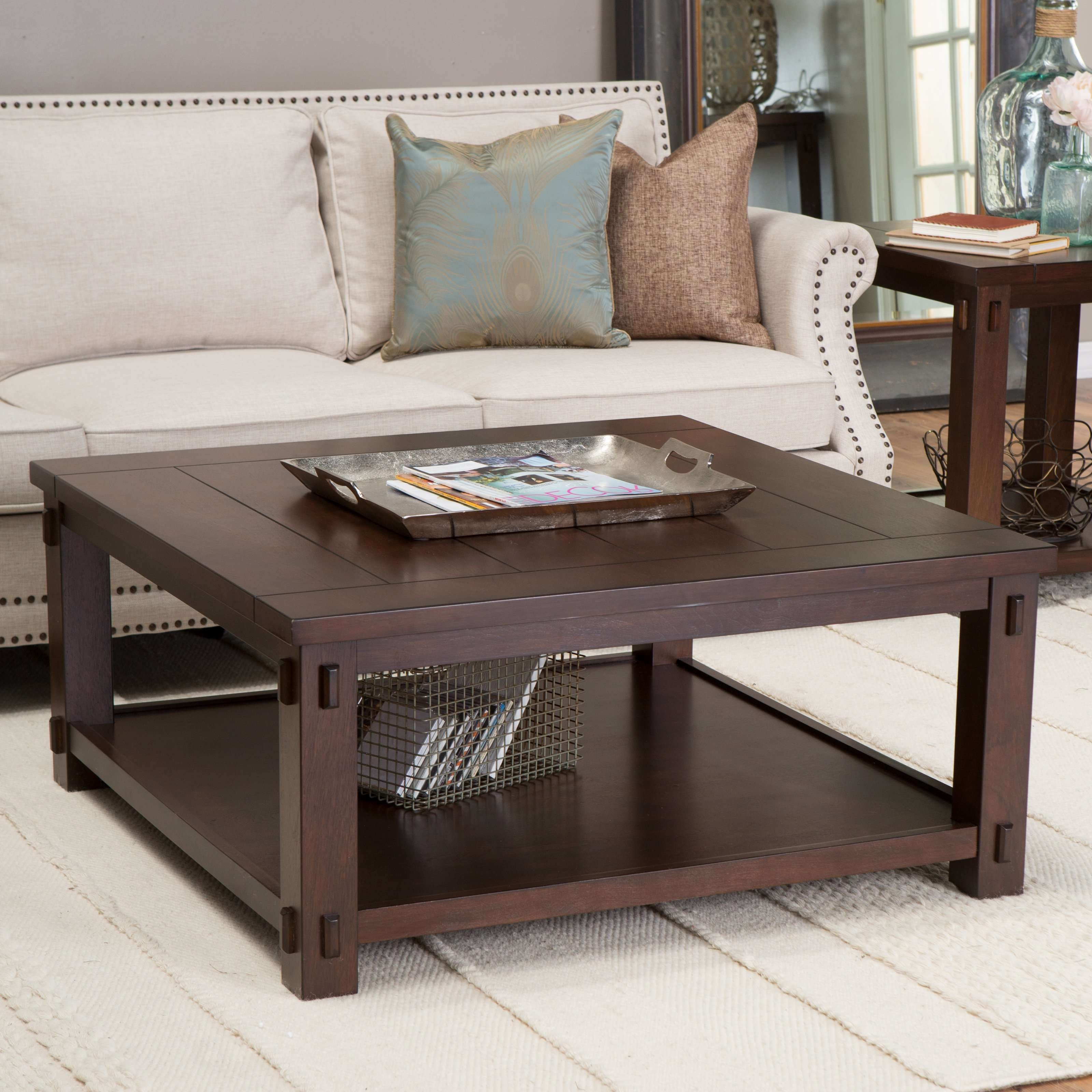 Coffee Tables : Popular Square Black Leather Upholstered Ottoman For Recent Dark Wood Square Coffee Tables (View 7 of 20)