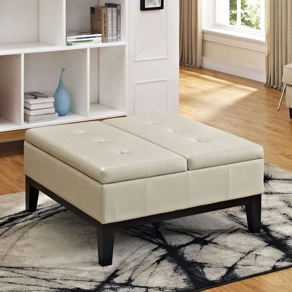Coffee Tables : Rectangular Ottoman Coffee Table Grey Leather Intended For 2018 Large Rectangular Coffee Tables (View 8 of 20)