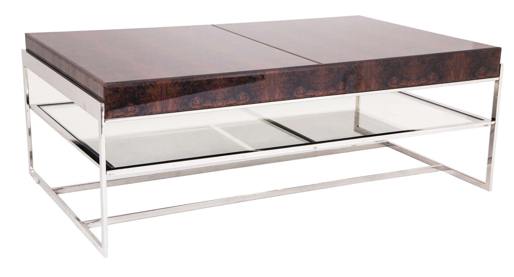 Coffee Tables : Rectangular Ultimate Chrome And Glass Coffee Table Intended For Popular Wood Chrome Coffee Tables (View 5 of 20)