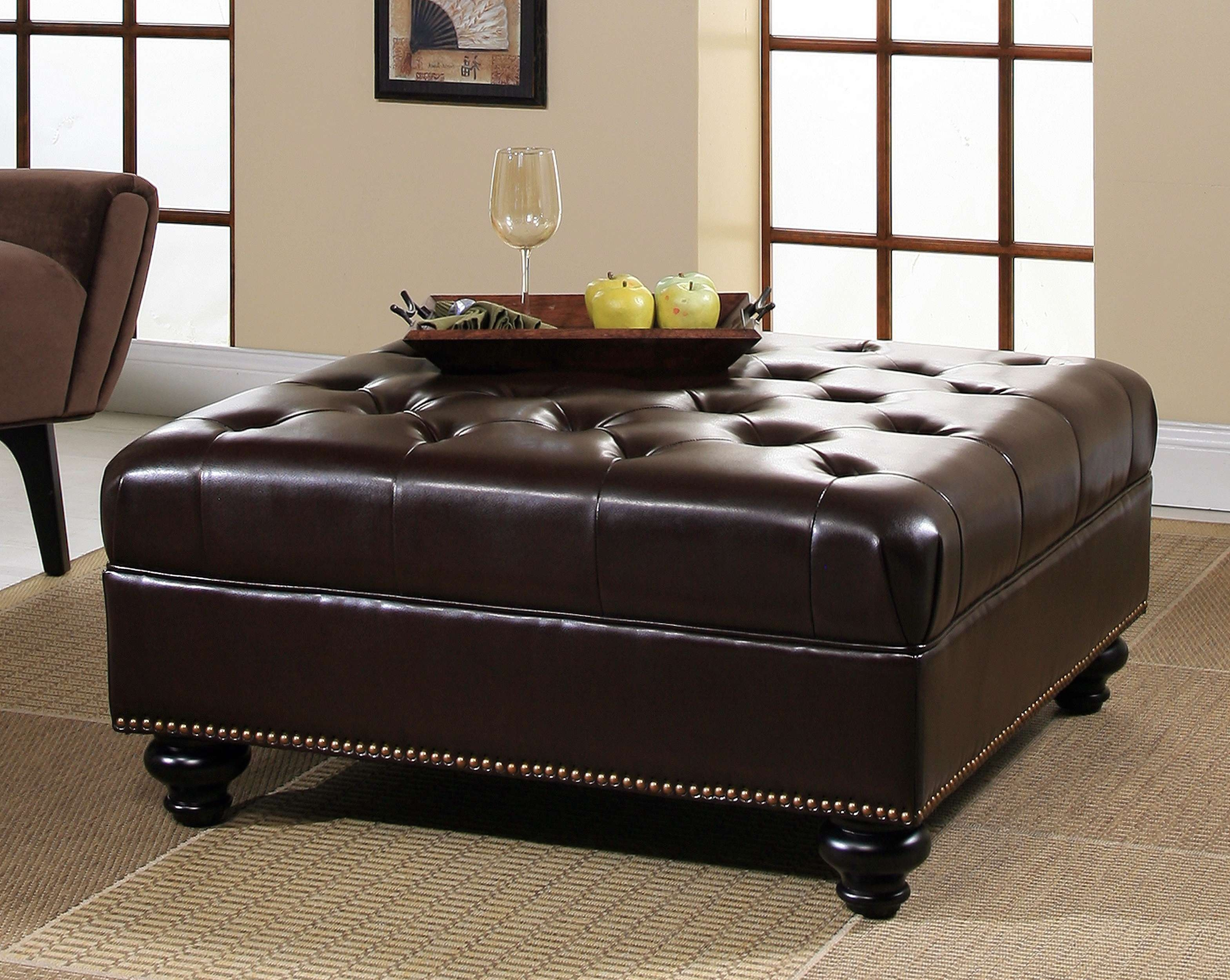 Coffee Tables : Round Coffee Table Ottoman Pier One Tufted Large With 2017 Brown Leather Ottoman Coffee Tables (View 16 of 20)