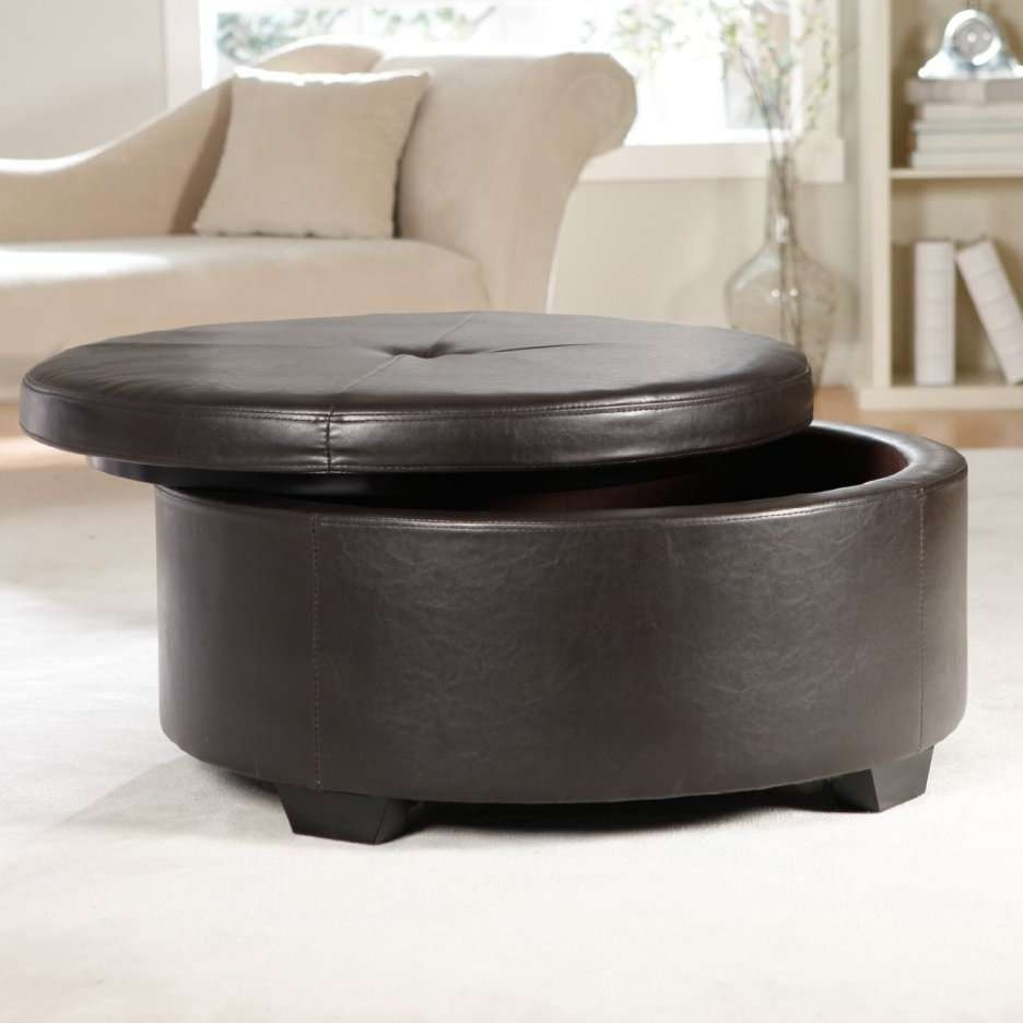 Coffee Tables : Round Leather Storage Ottoman Coffee Table Tray Within Trendy Circular Coffee Tables With Storage (View 7 of 20)