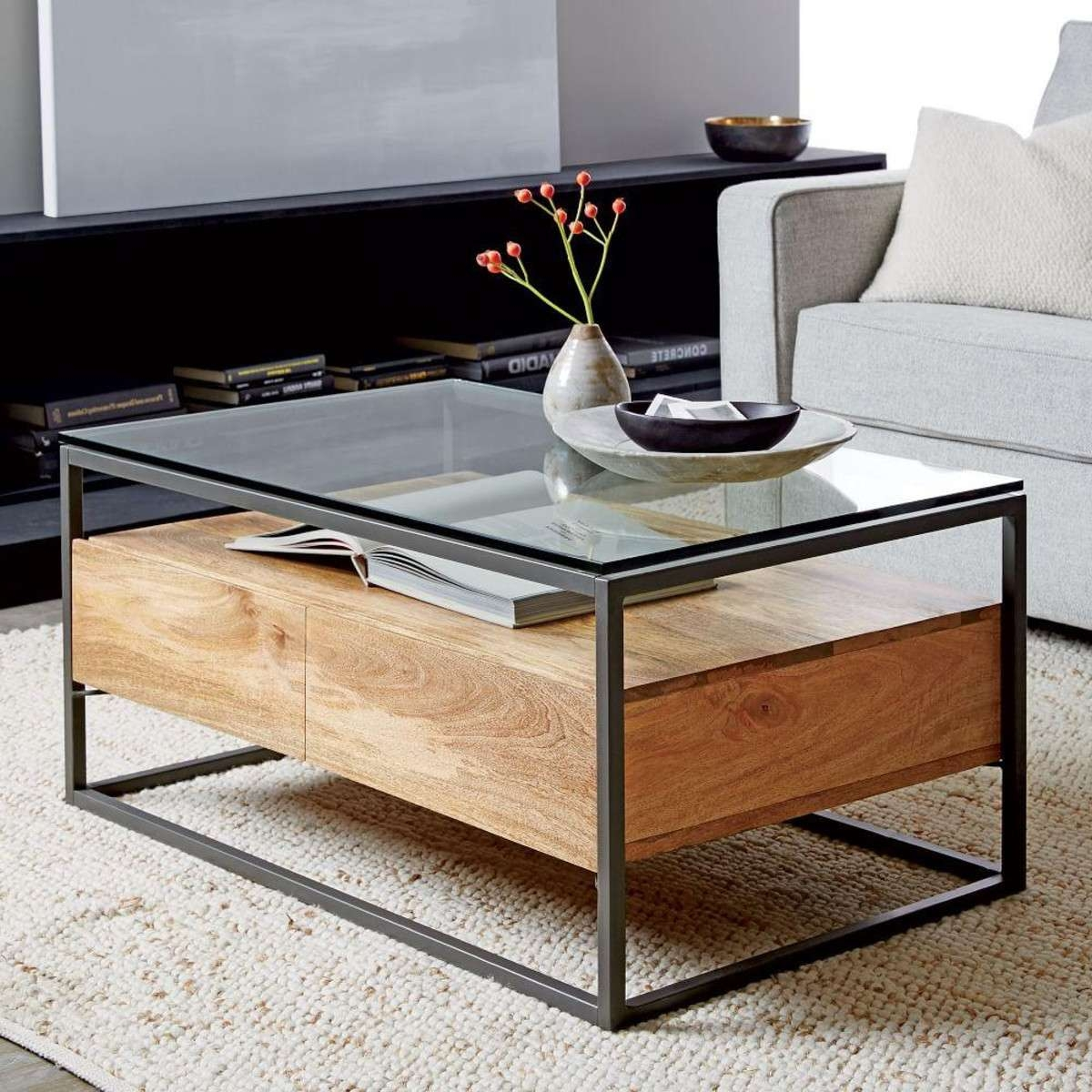 Coffee Tables : Rustic Storage Coffee Table With Sliding Tables For Newest Storage Coffee Tables (View 5 of 20)