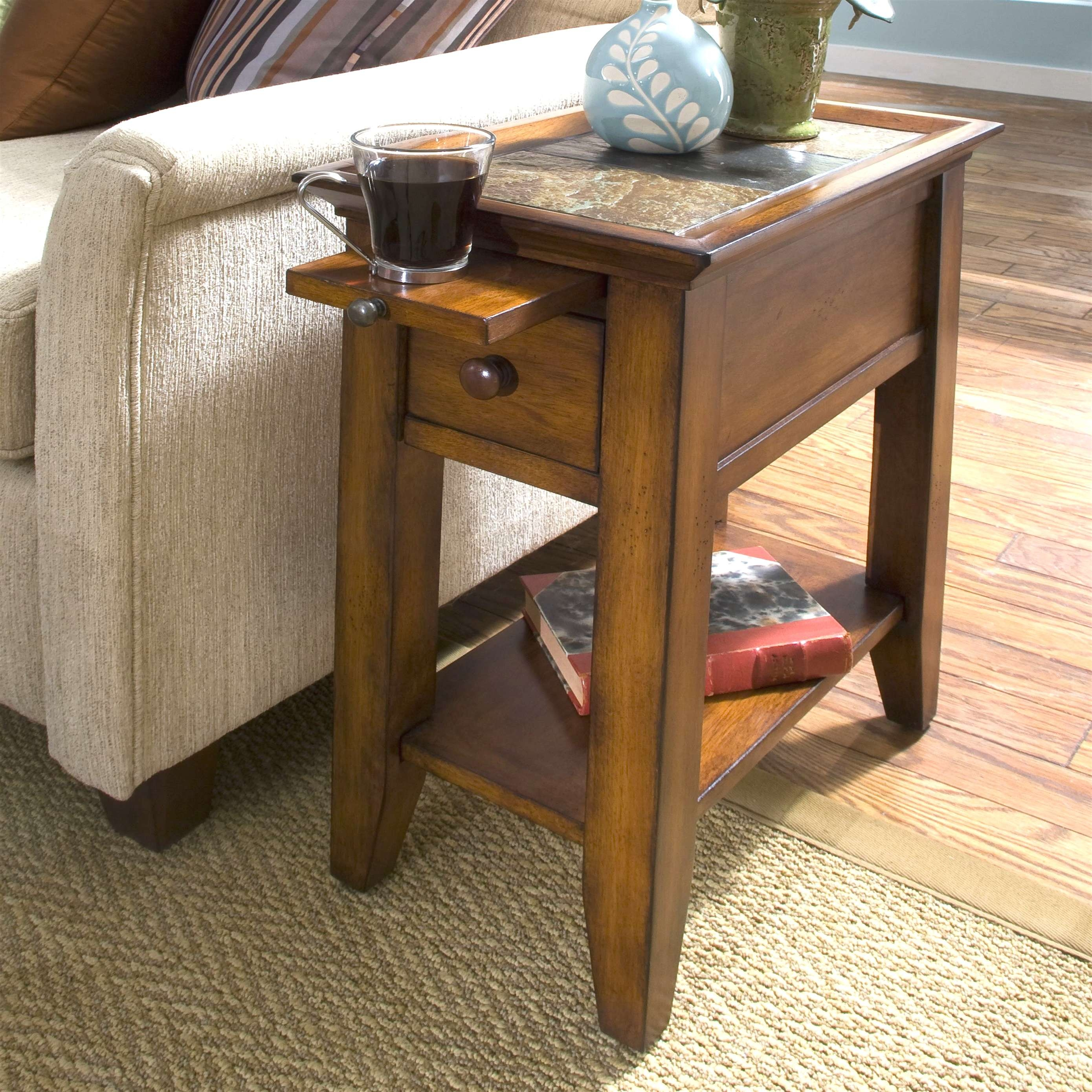 Coffee Tables : Rustic Wood Side Table Occasional Tables Parsons Pertaining To Widely Used Round Coffee Tables With Drawer (View 18 of 20)