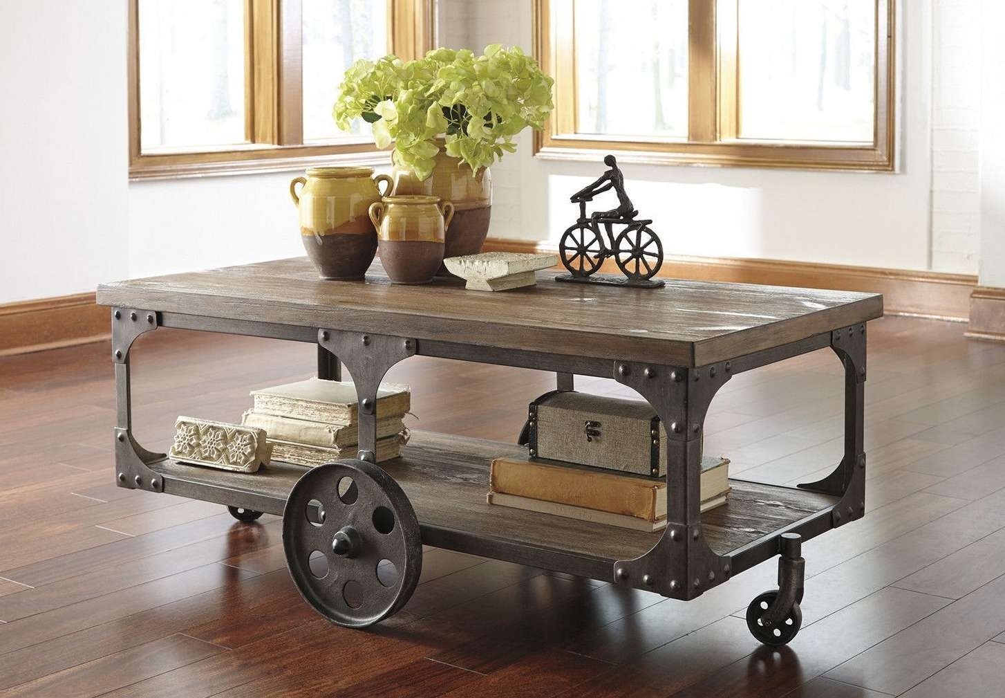 Coffee Tables : Simple Rustic Coffee Table On Wheels Decoration With Regard To Well Liked Rustic Coffee Table With Wheels (View 4 of 20)