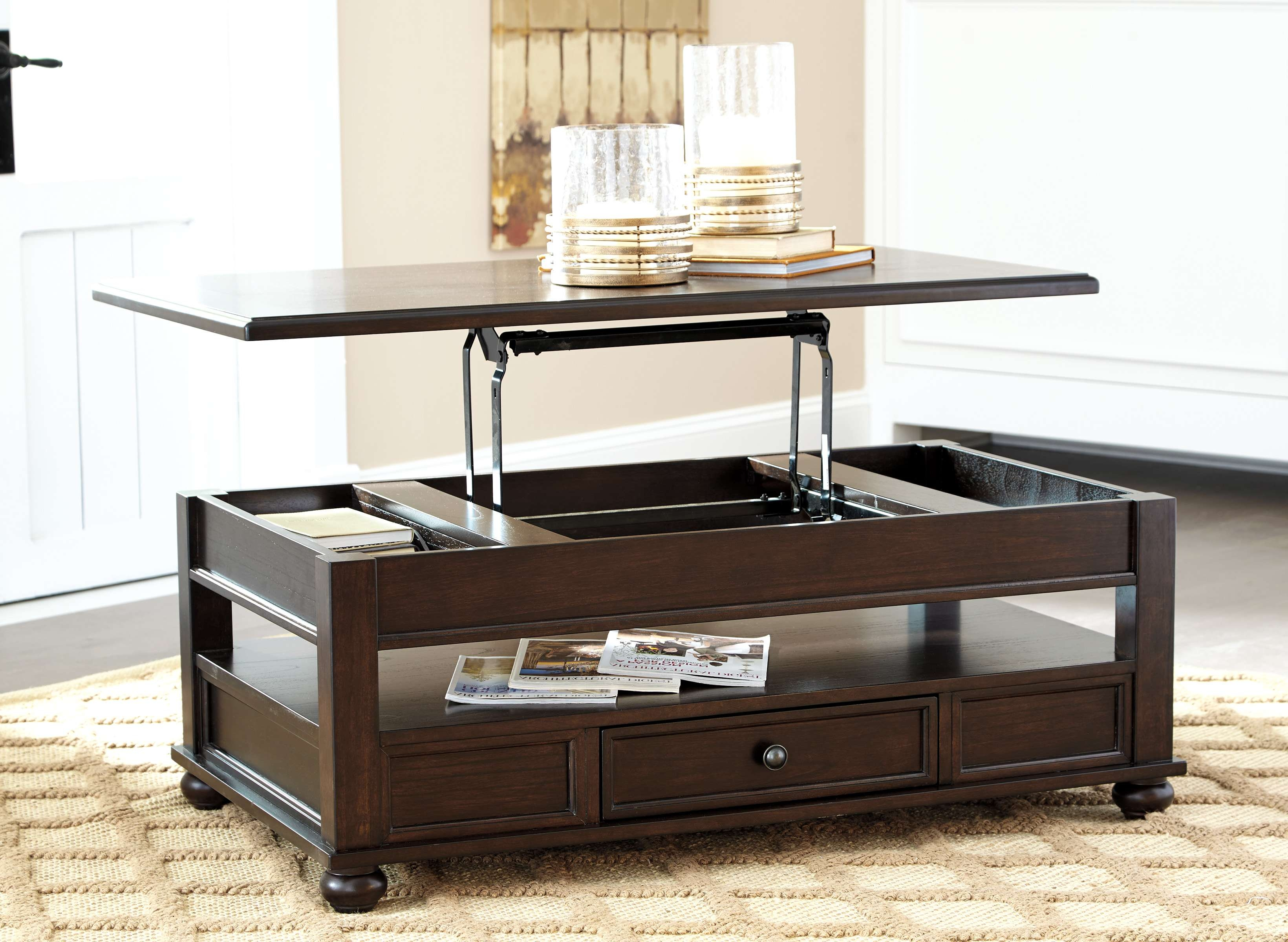 Coffee Tables : Simple Table With Stools And Storage Cube Coffee Within Well Liked Dark Brown Coffee Tables (View 7 of 20)