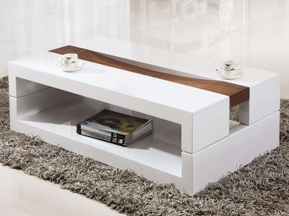 Coffee Tables : Simple White Glass Coffee Table Design Intended For Fashionable Large Contemporary Coffee Tables (View 9 of 20)